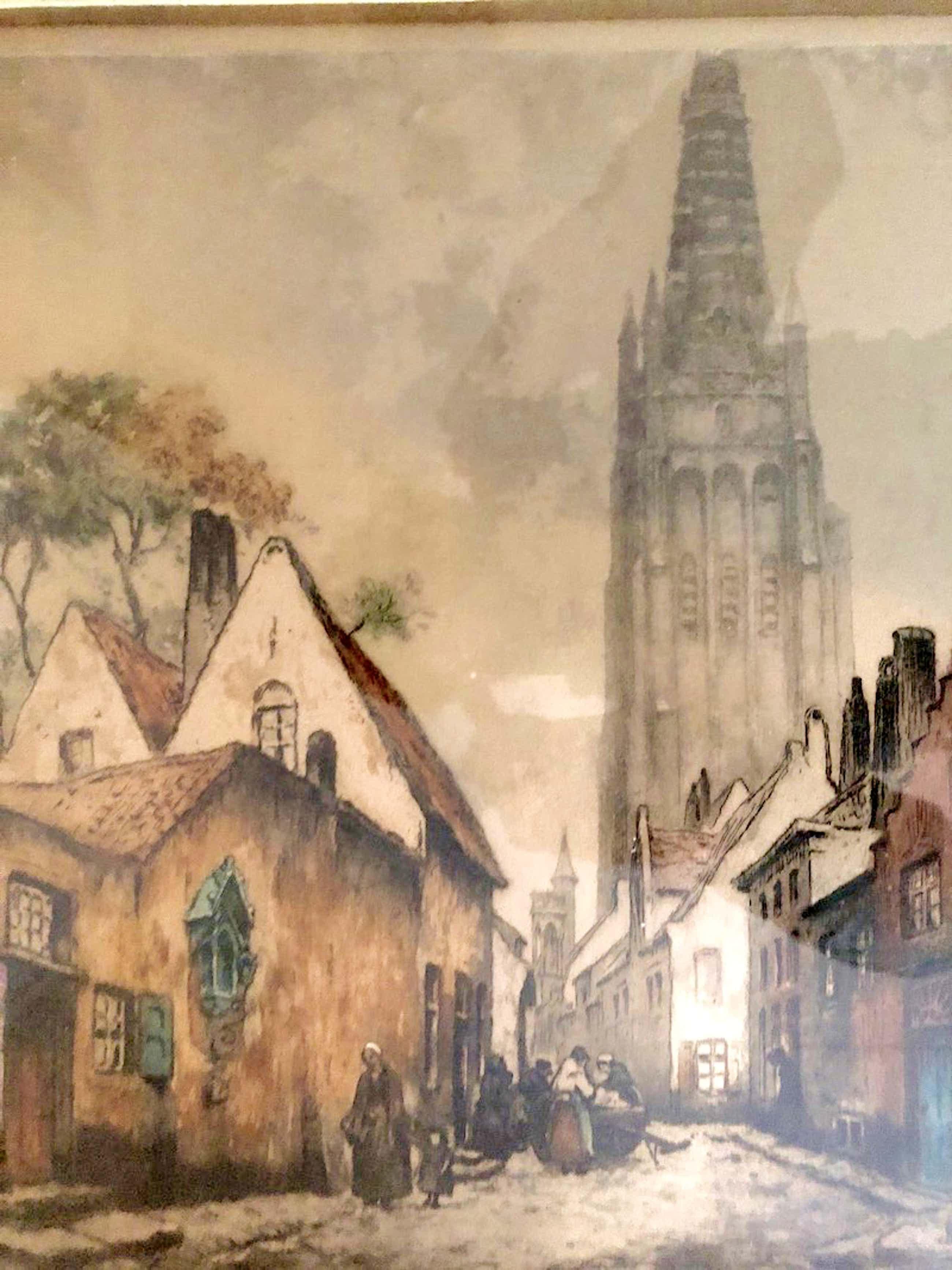 Alfred van Neste - Onze-Lieve-Vrouwekerk te Brugge - Ets / aquatint, Ingelijst kopen? Bied vanaf 55!