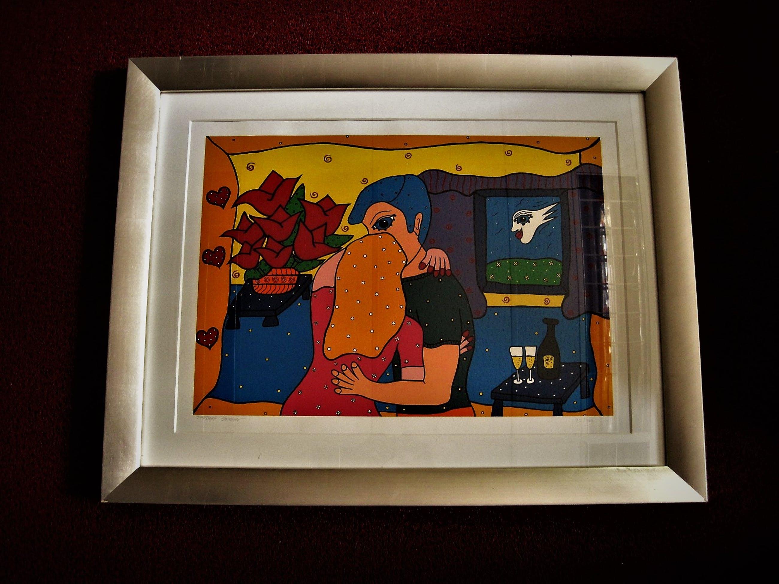 """Franz Bodner - GROTE gelimiteerde oplage Zeefdruk """"Happy Couple"""" gsigneerd - Prachtig ingelijst kopen? Bied vanaf 10!"""