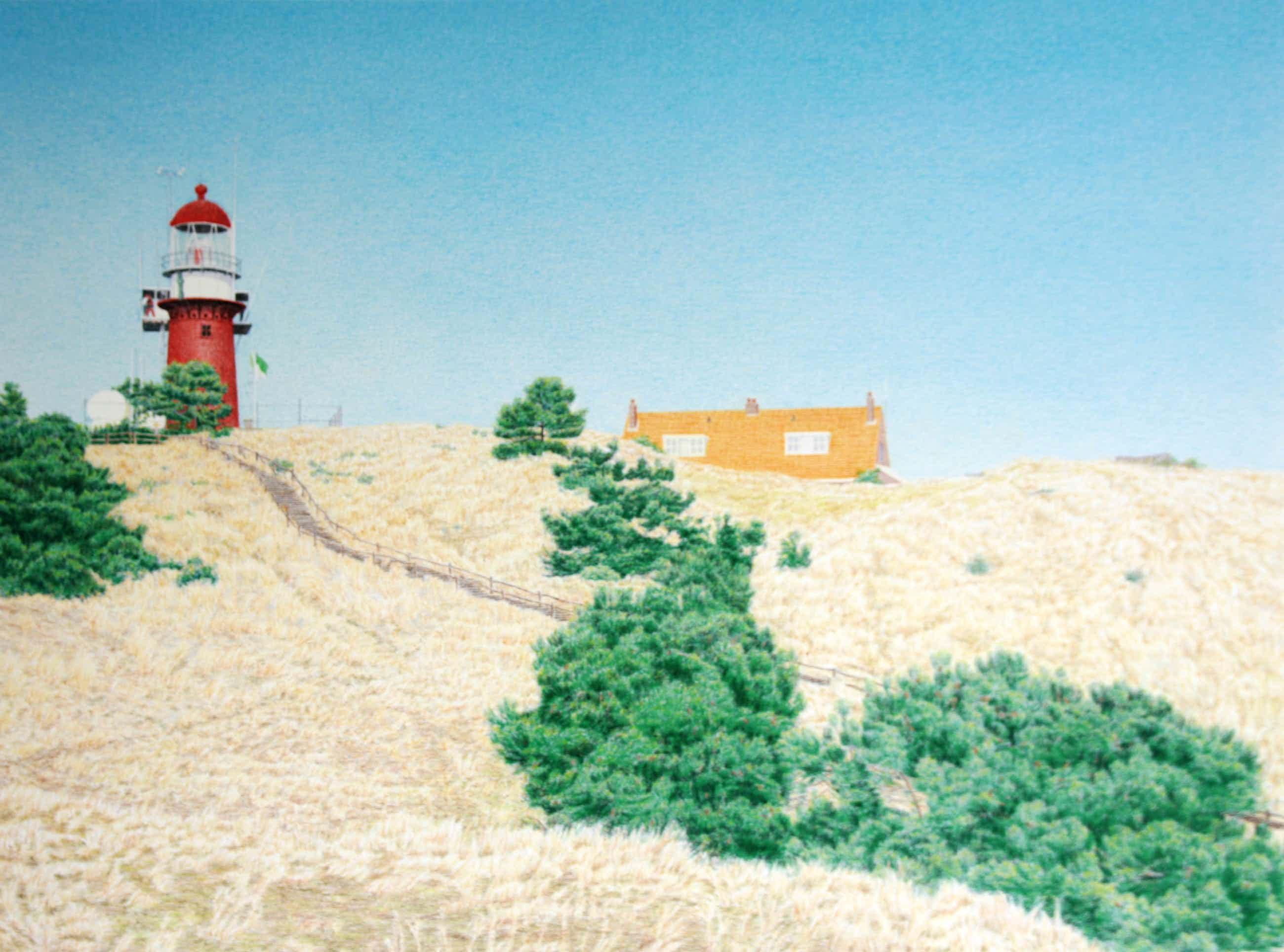 Frans Room - zeefdruk vuurtoren Vuurduin Vlieland - kleurzeefdruk oplage 125 - FR0051 kopen? Bied vanaf 25!