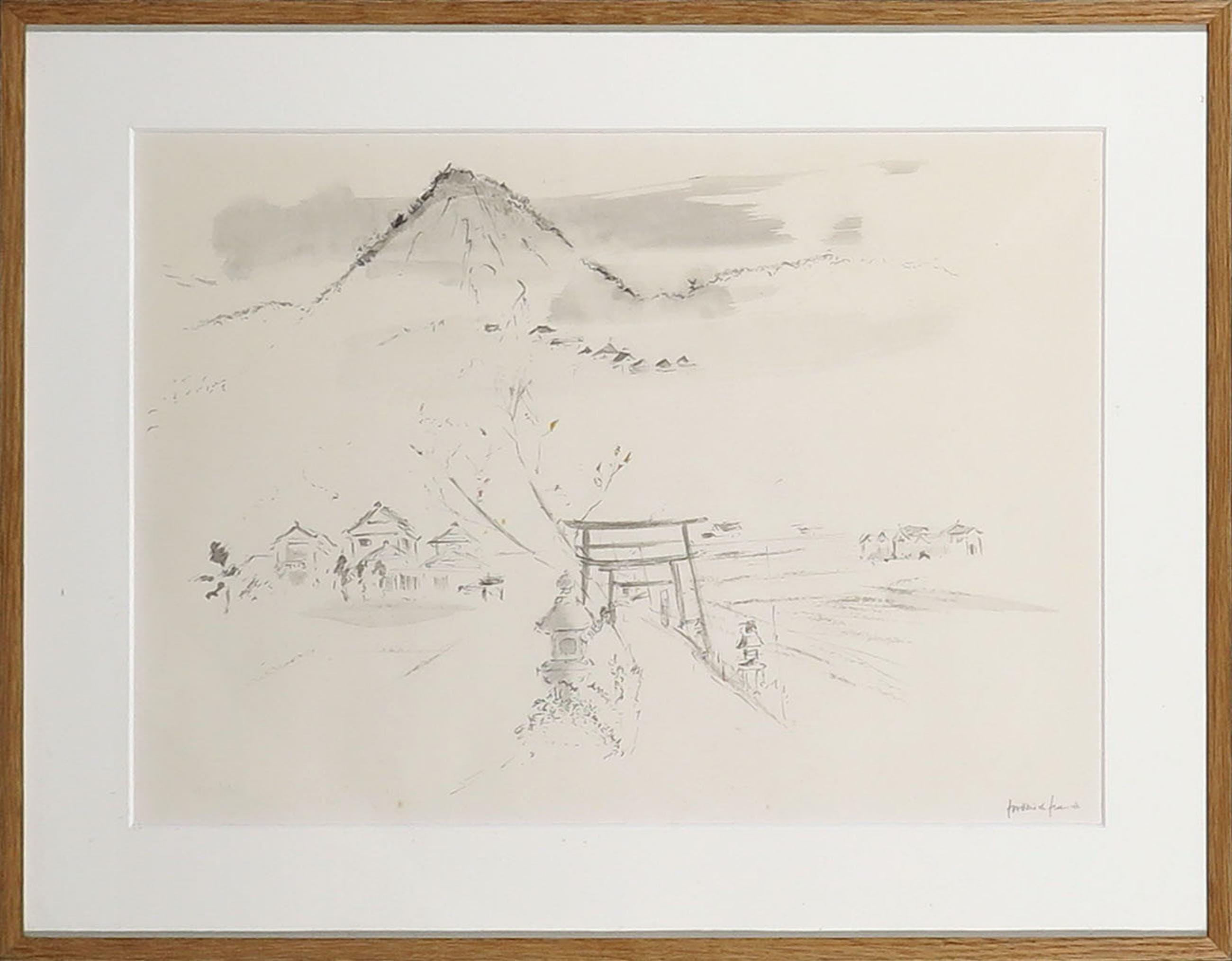 Frederick Franck - Penseeltekening, Mount Fuji - Ingelijst kopen? Bied vanaf 70!