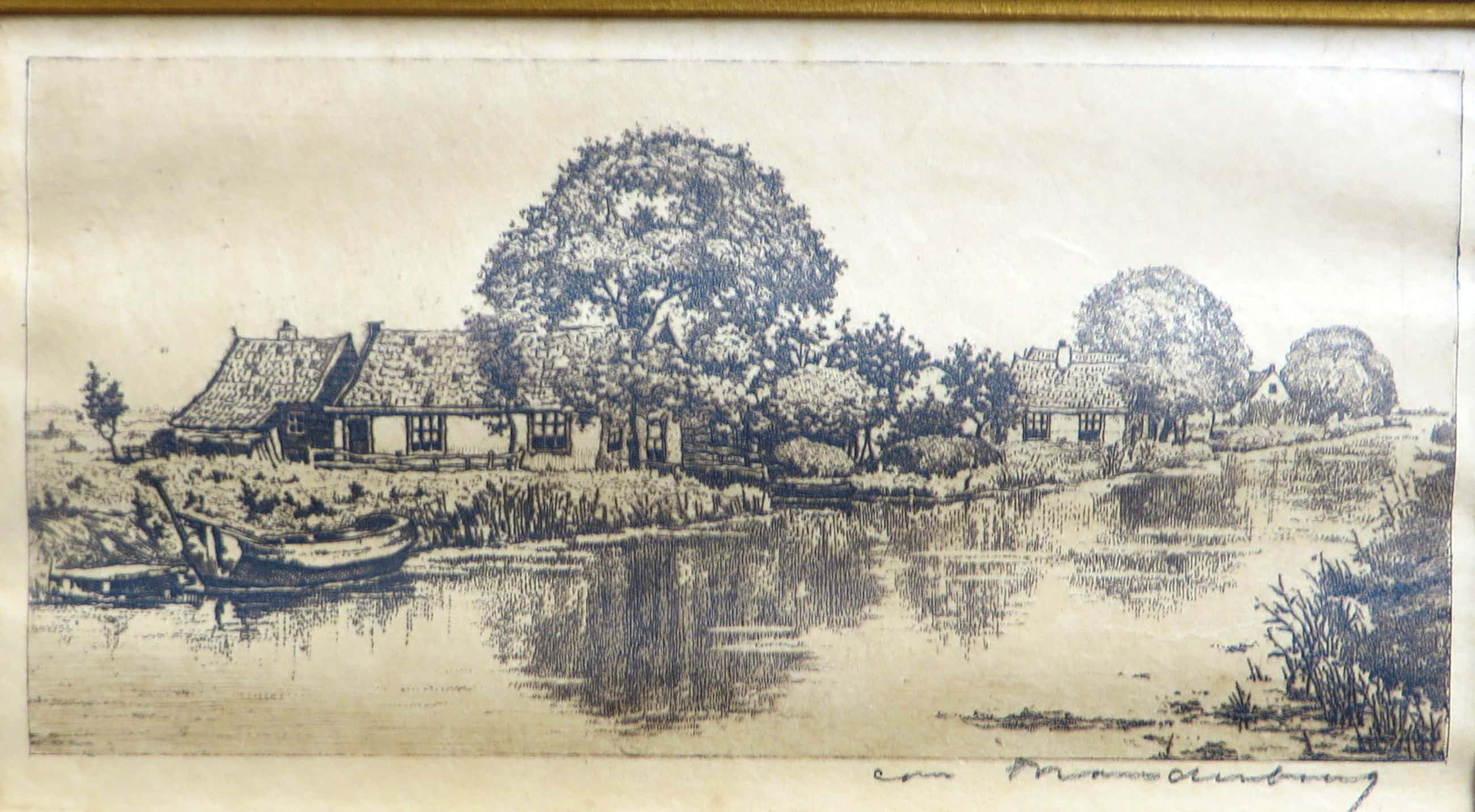 Cornelis Brandenburg - Landschap met boerderijen aan het water. kopen? Bied vanaf 40!
