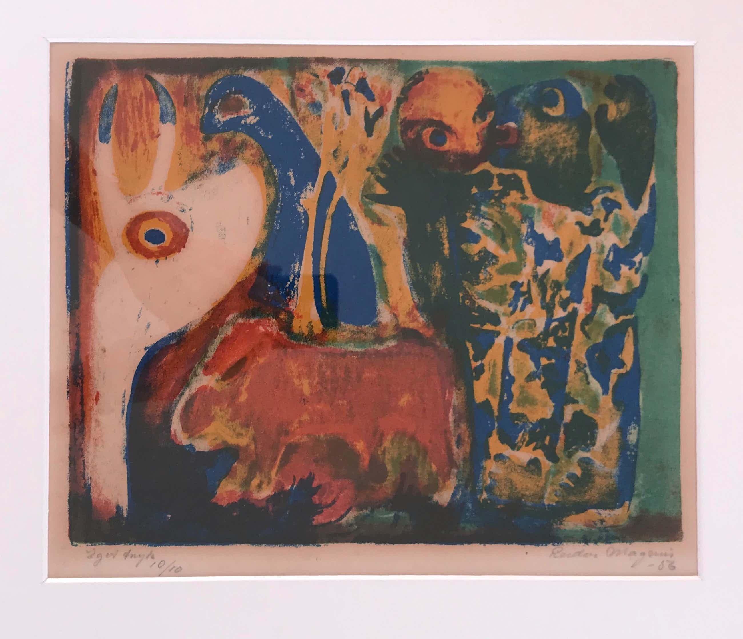 Reidar Magnus - Originele kleurenlitho - 1956 - Gesigneerd - 10/10 kopen? Bied vanaf 65!