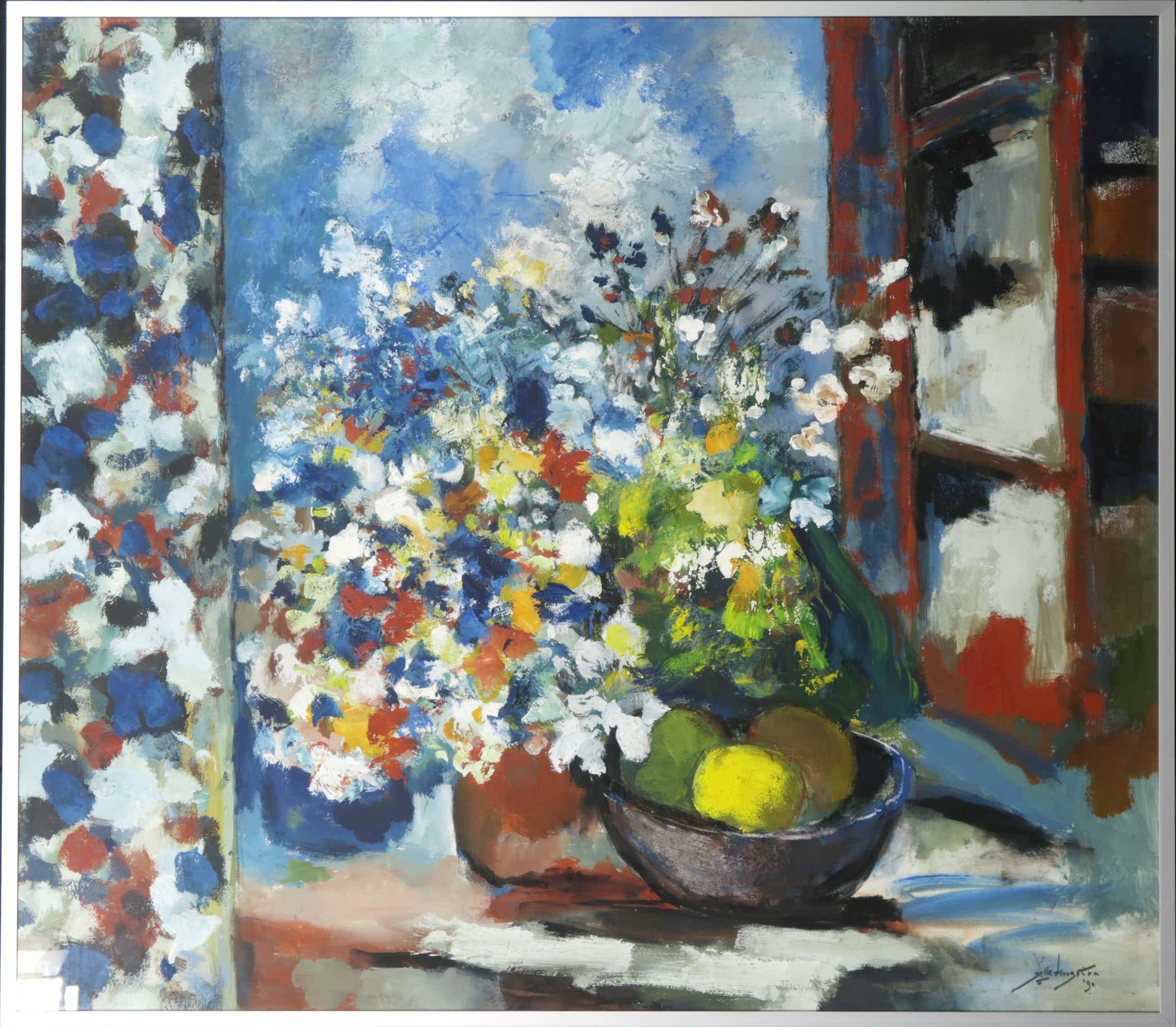 Jelle Hoogstra - Gouache op papier, Fruitschaal met bloemen - Ingelijst kopen? Bied vanaf 70!