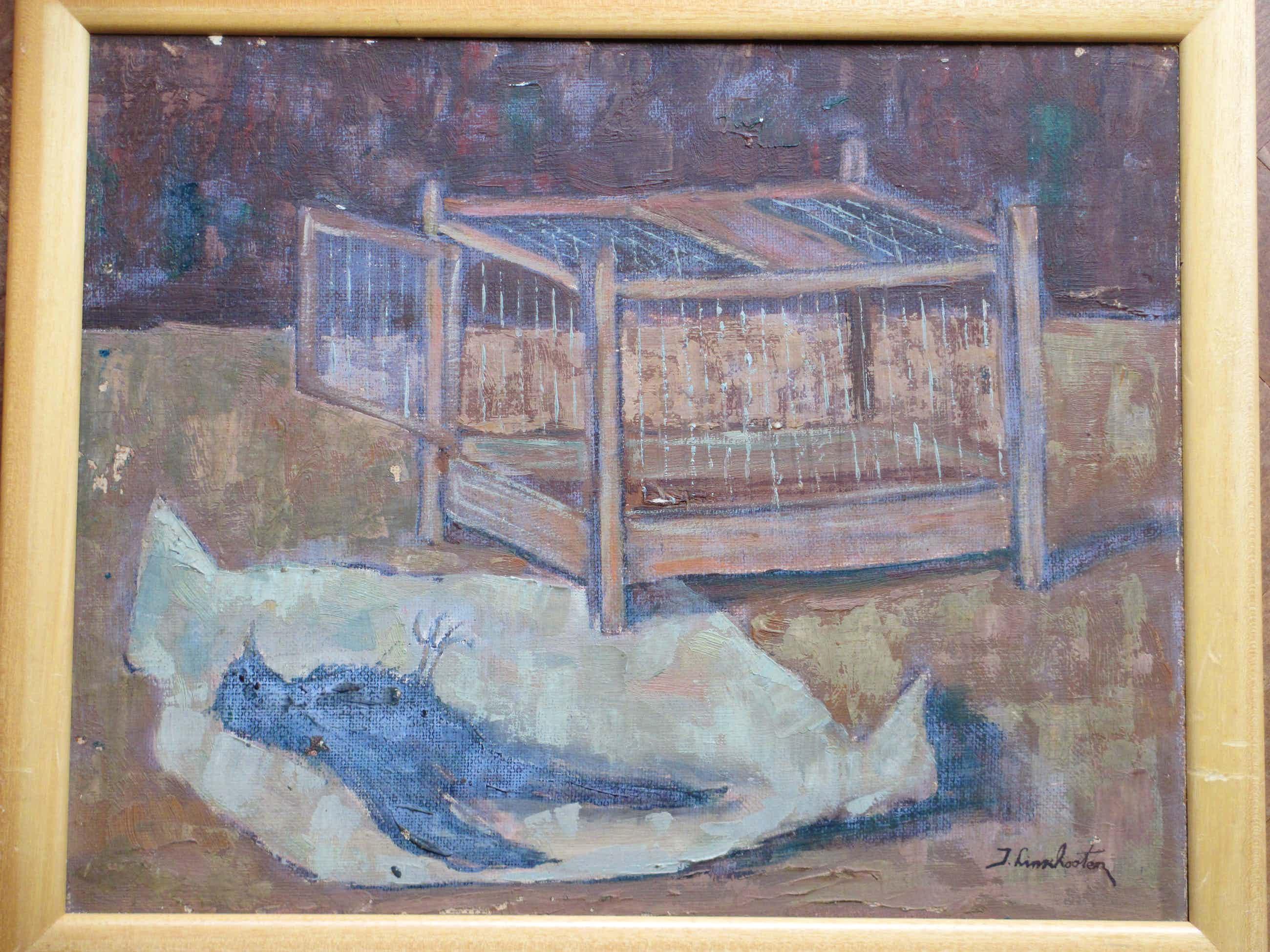 Jan Linschooten - Dood vogeltje naast open kooi - Olieverf op board kopen? Bied vanaf 90!