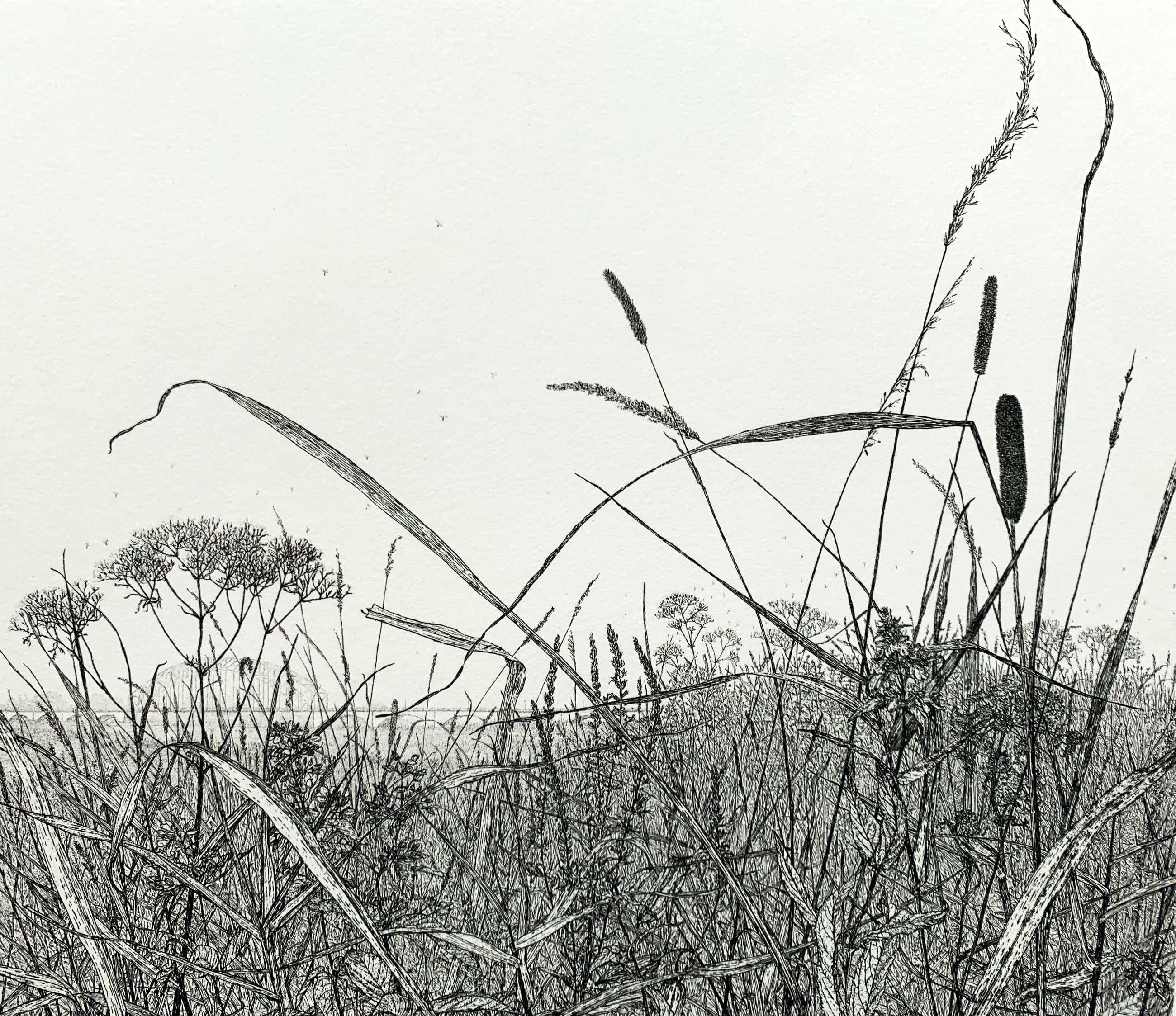 Reinder Homan - ets - 'Landschap met Oude Ijsselbrug - 1992 kopen? Bied vanaf 140!