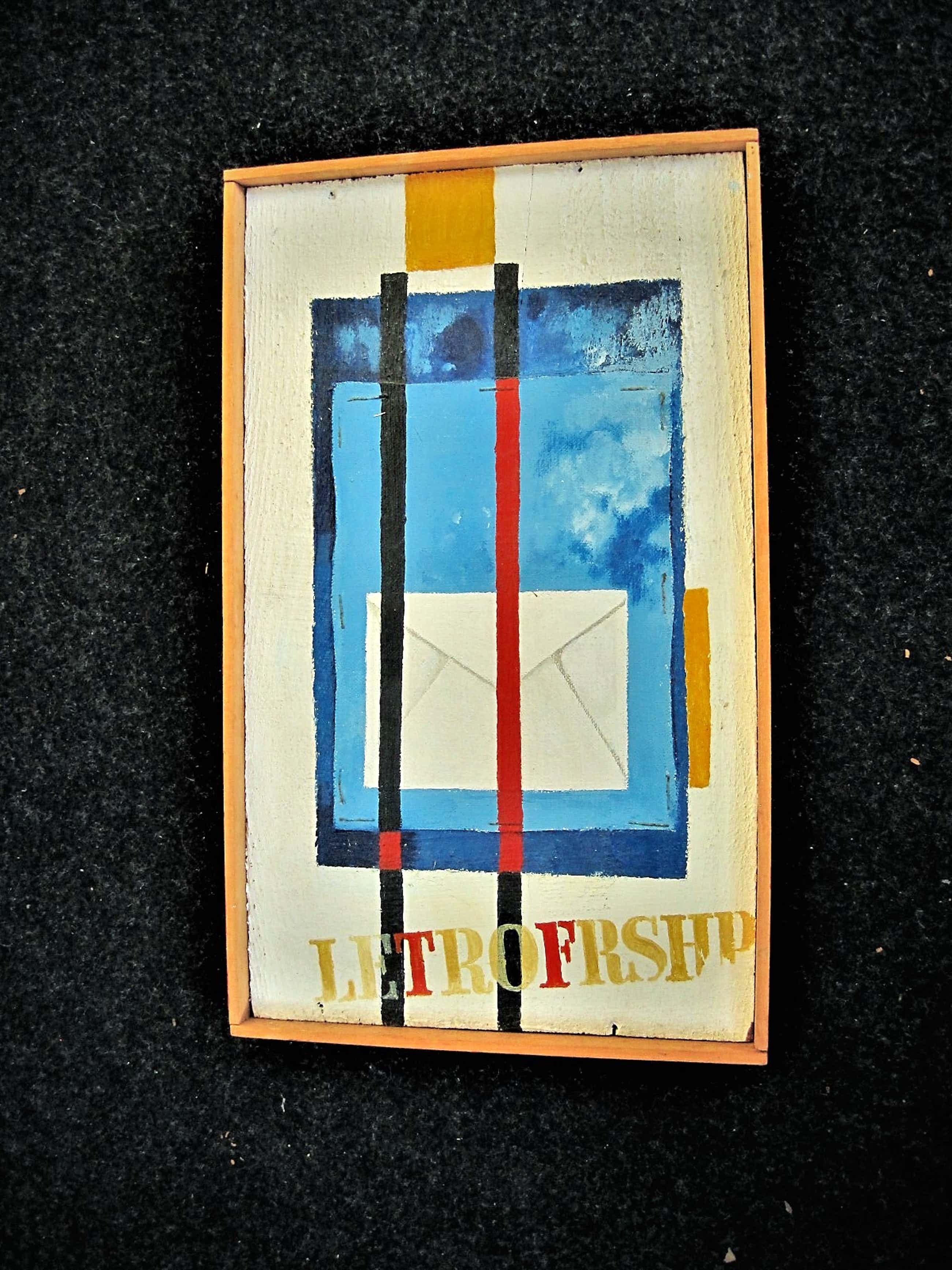 """Ton Frenken - Borzo Gallery - Geometrisch Olieverf - """"LetrofFrshp"""" -gesigneerd met opdracht kopen? Bied vanaf 50!"""