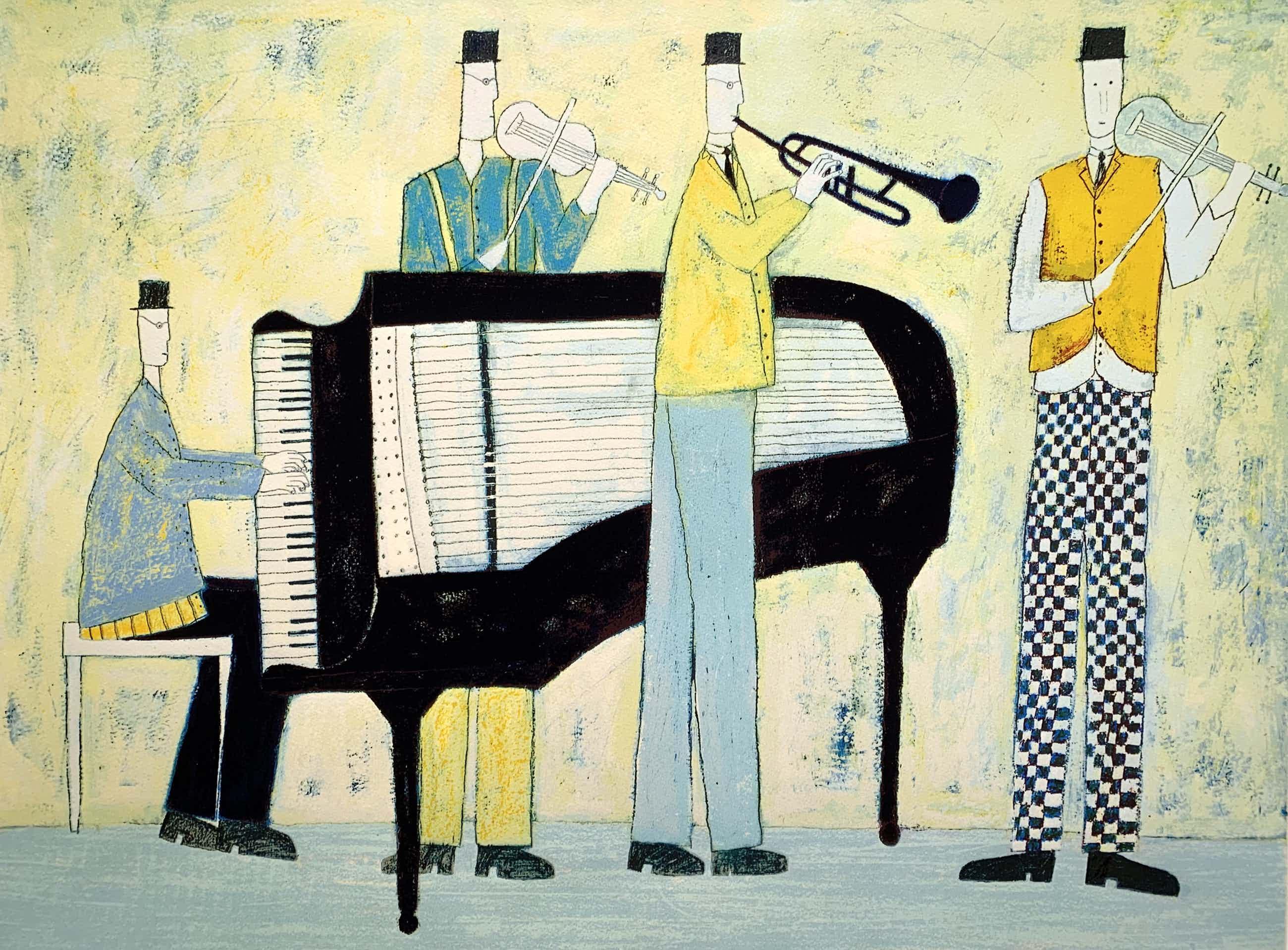 Annora Spence - kleurenzeefdruk | 'Musicians' | 1997 (Groot werk) kopen? Bied vanaf 175!
