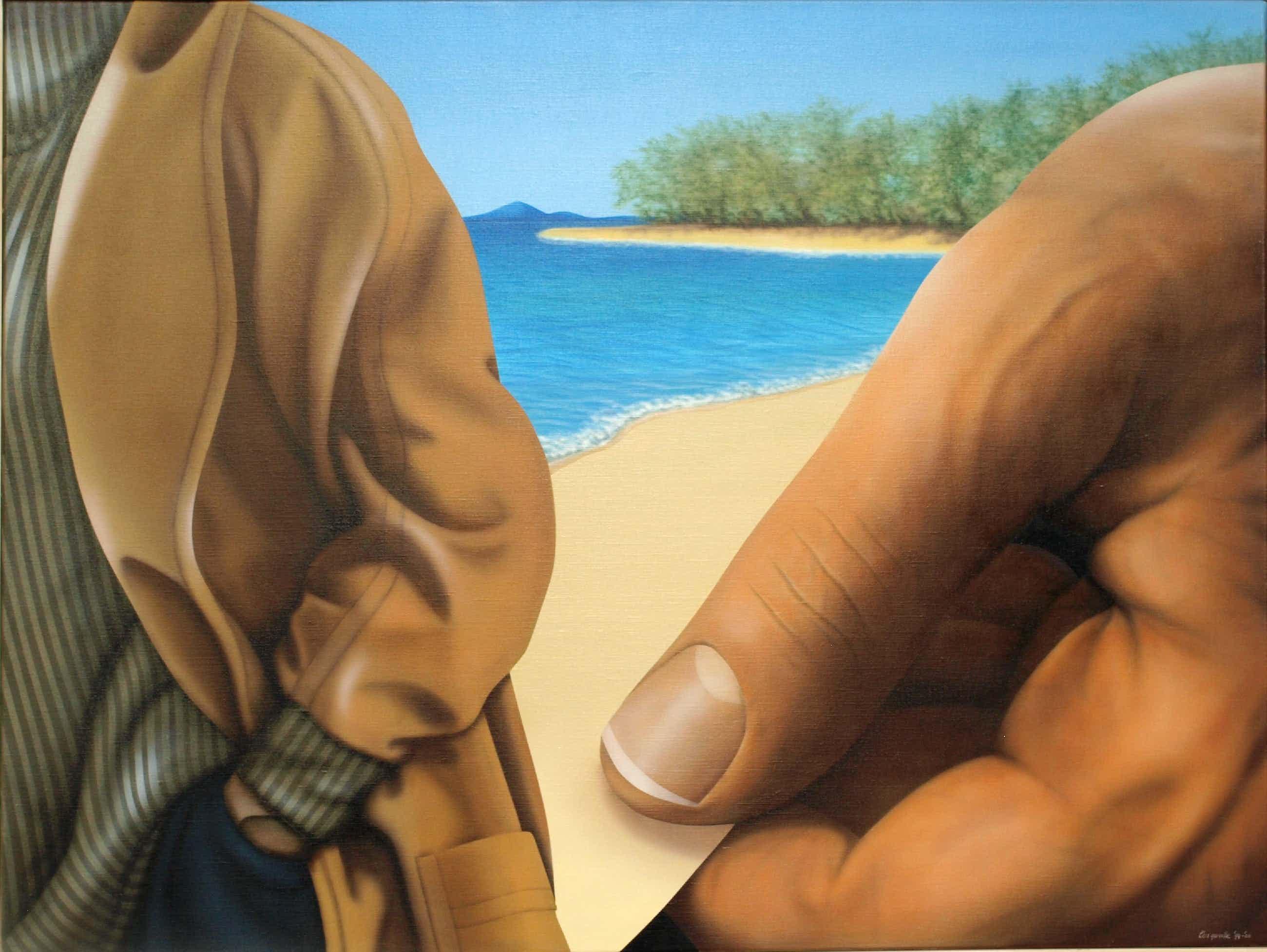 Kees Gerritse - Groot , ingelijst olieverf op doek , Aan het strand II – 1999 – 90 x 120 cm. kopen? Bied vanaf 1000!
