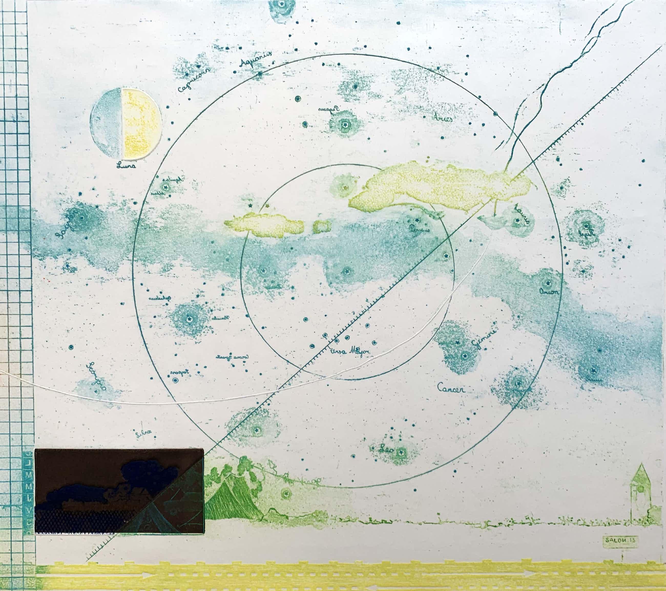 Eduard Flor - ets/aquatint met reliëfdruk - 'Hemel 's nachts' - 1970 (Prent 190 Serie 5B) kopen? Bied vanaf 70!