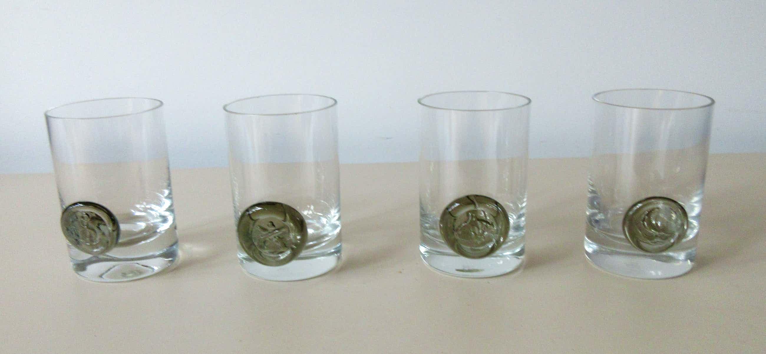 """Bjorn Wiinblad - Vier Whiskey of waterglazen uit de serie """"Piraten Zegel"""" kopen? Bied vanaf 10!"""