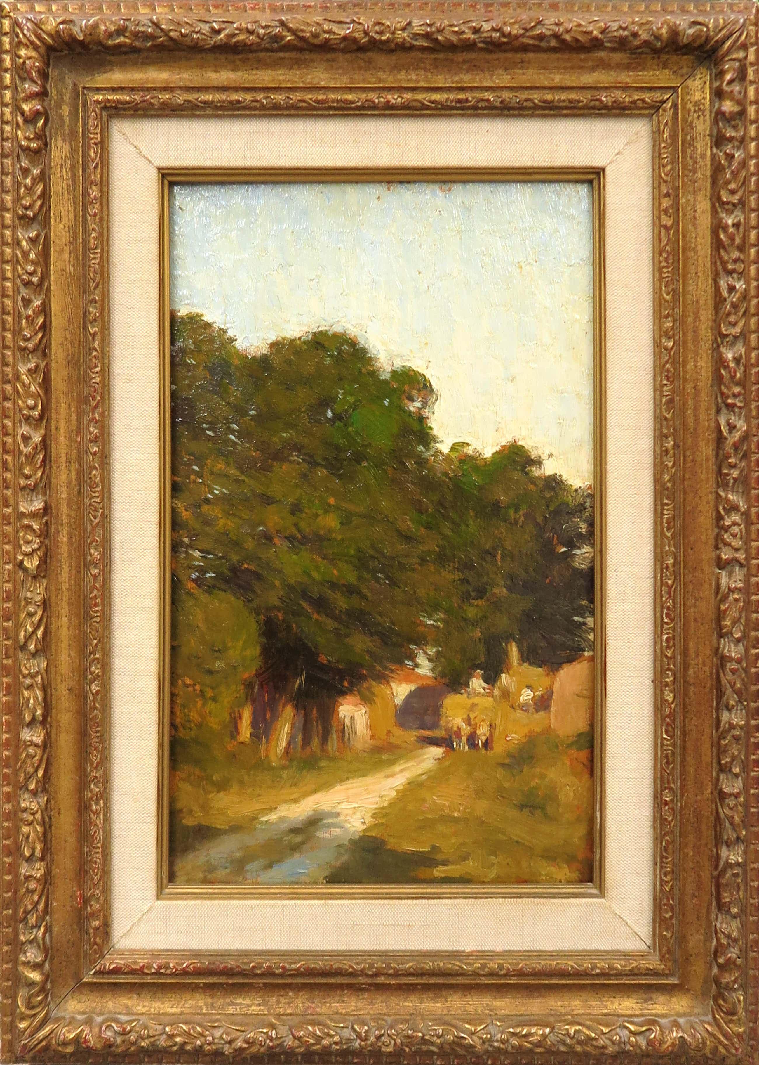 Theophile de Bock - (Toegeschreven aan) Olieverf op paneel, Bomen langs een weggetje kopen? Bied vanaf 300!