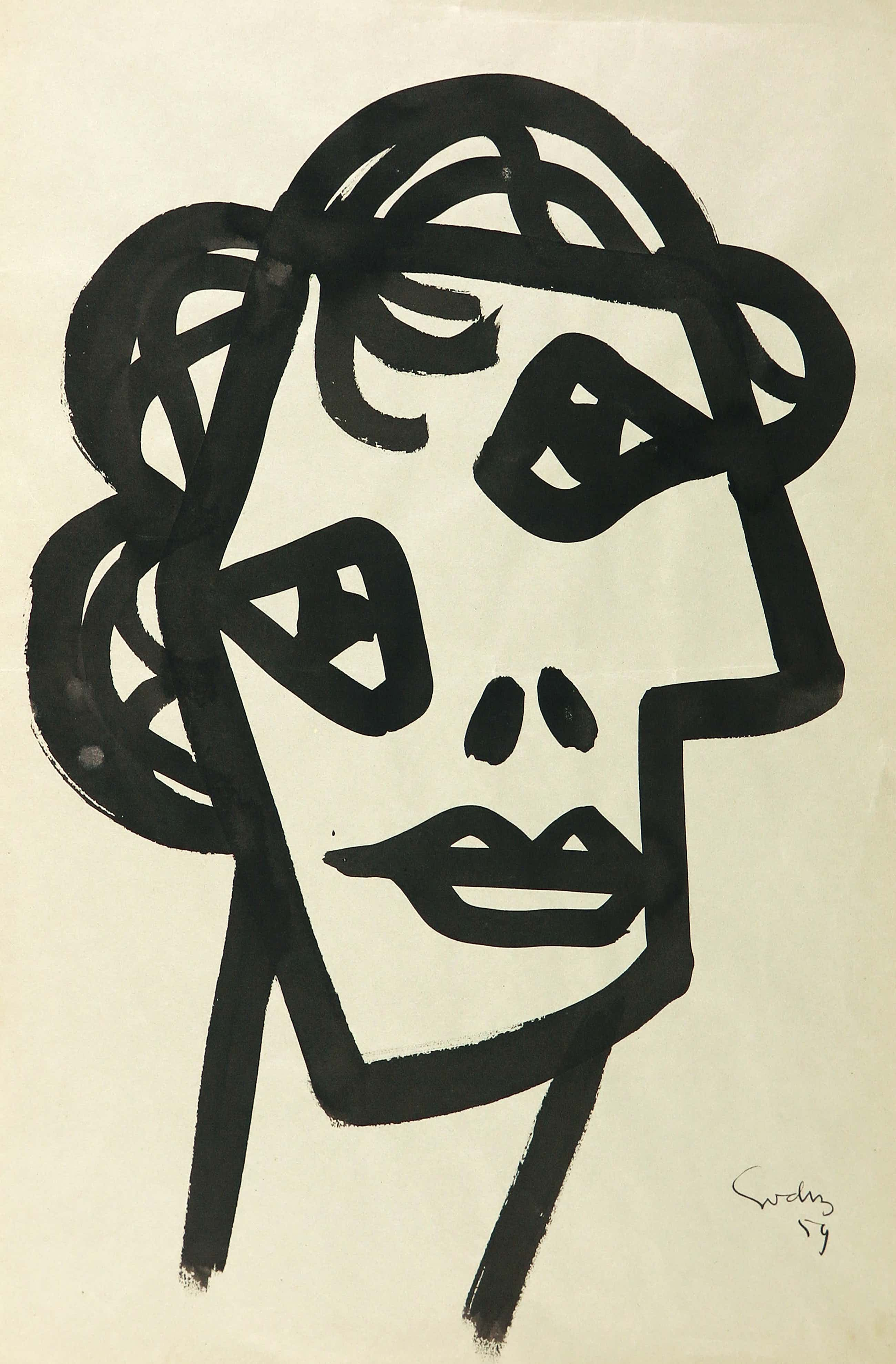 Siep van den Berg - Gouache, Portret kopen? Bied vanaf 265!