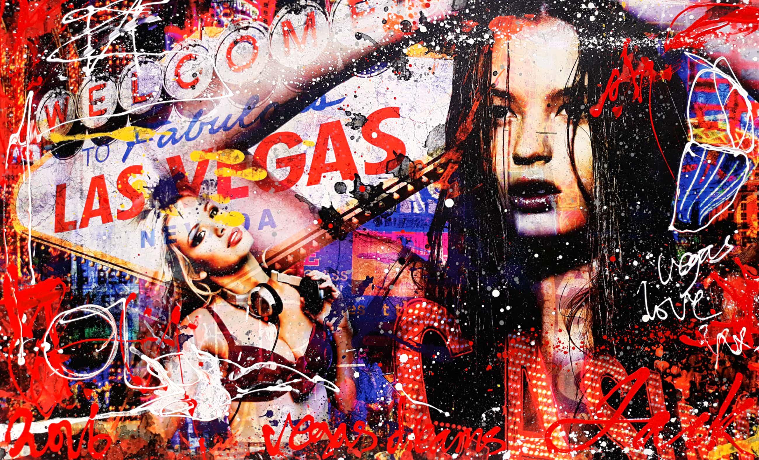 Jack Liemburg - Vegas Dreams, gemengde techniek op canvas (200cm x 120cm!) kopen? Bied vanaf 1250!