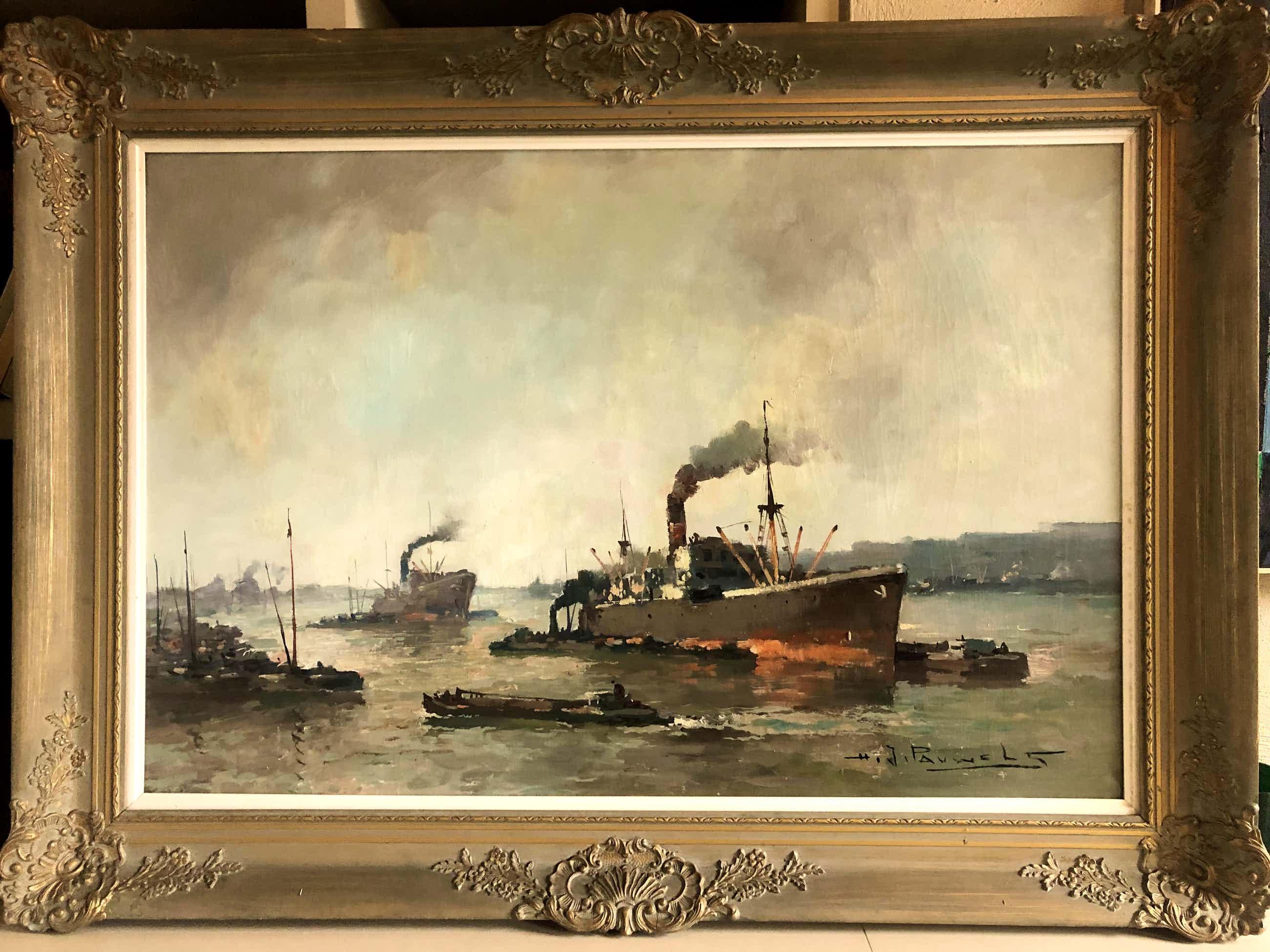 Henri Joseph Pauwels - Stoomschip bij binnenkomst te Antwerpen kopen? Bied vanaf 200!