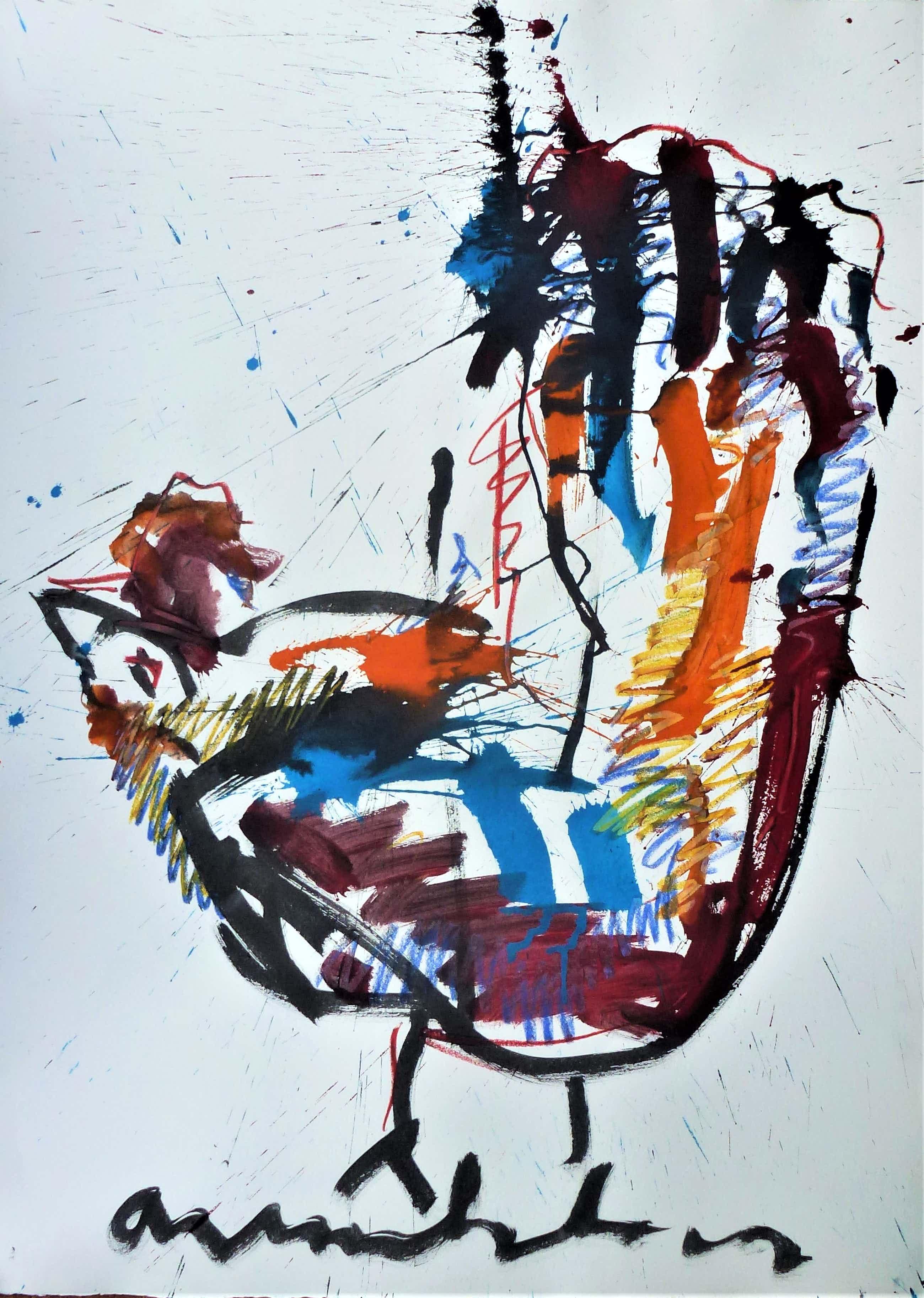 Anton Heyboer - De oer vogel kleurijke krachtige sierlijke schildering . kopen? Bied vanaf 445!