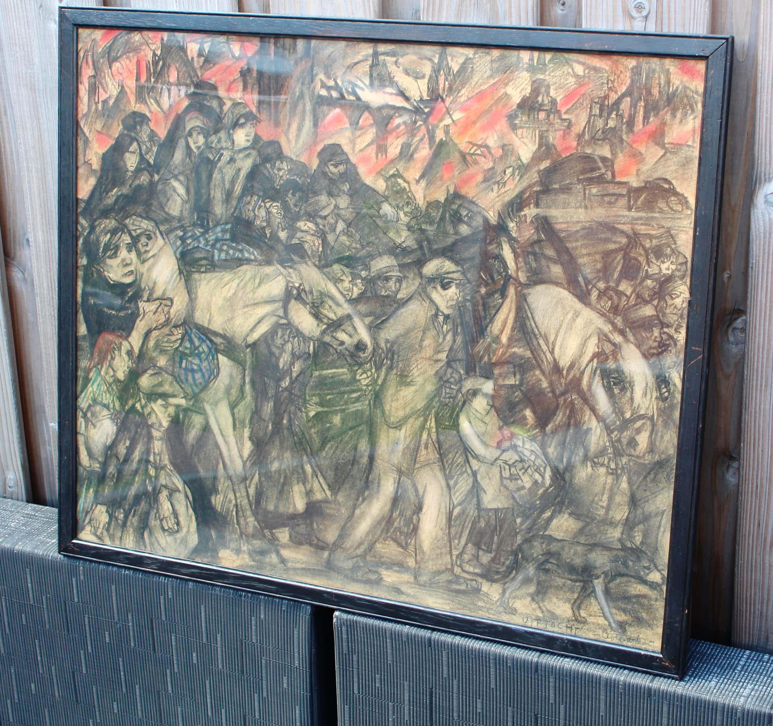 Leo Gestel - Gemengde techniek (tekening/aquarel/zwart krijt): De uittocht kopen? Bied vanaf 4400!