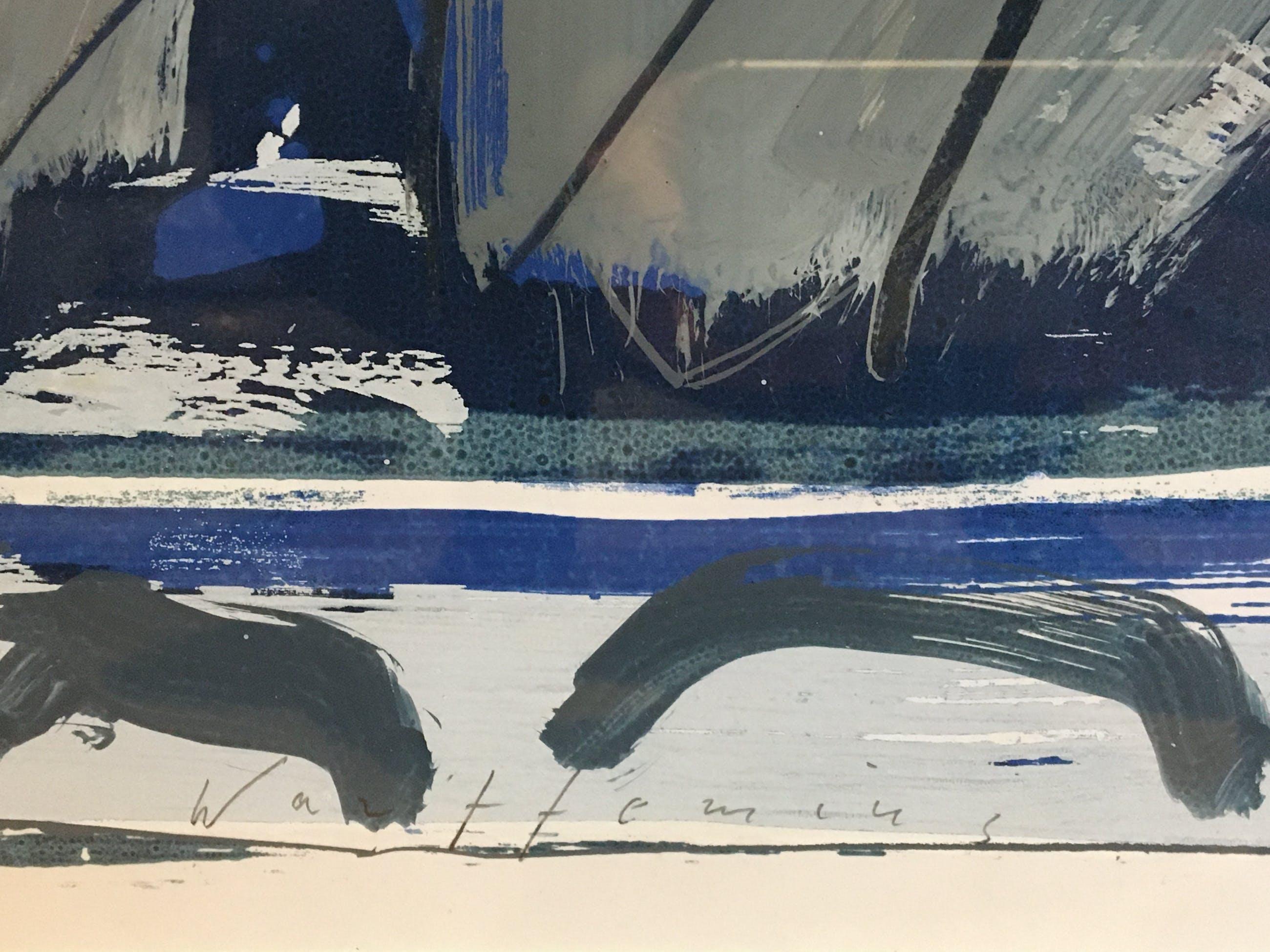 Piet Warffemius - [Abstracte compositie in blauw, grijs en rood]. kopen? Bied vanaf 25!