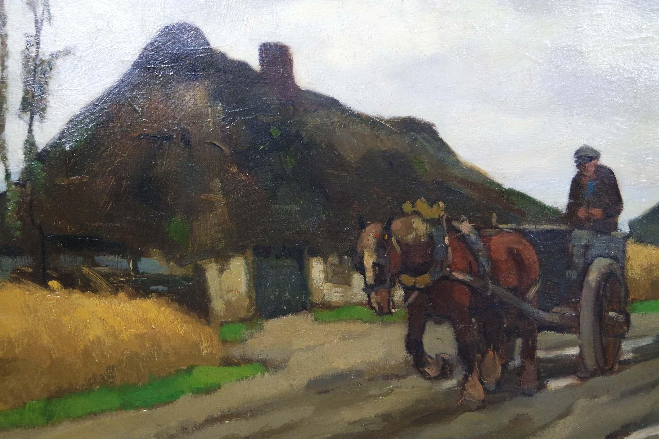 Cor Noltee - olieverf op doek - boerderij en boer met paard en wagen kopen? Bied vanaf 725!