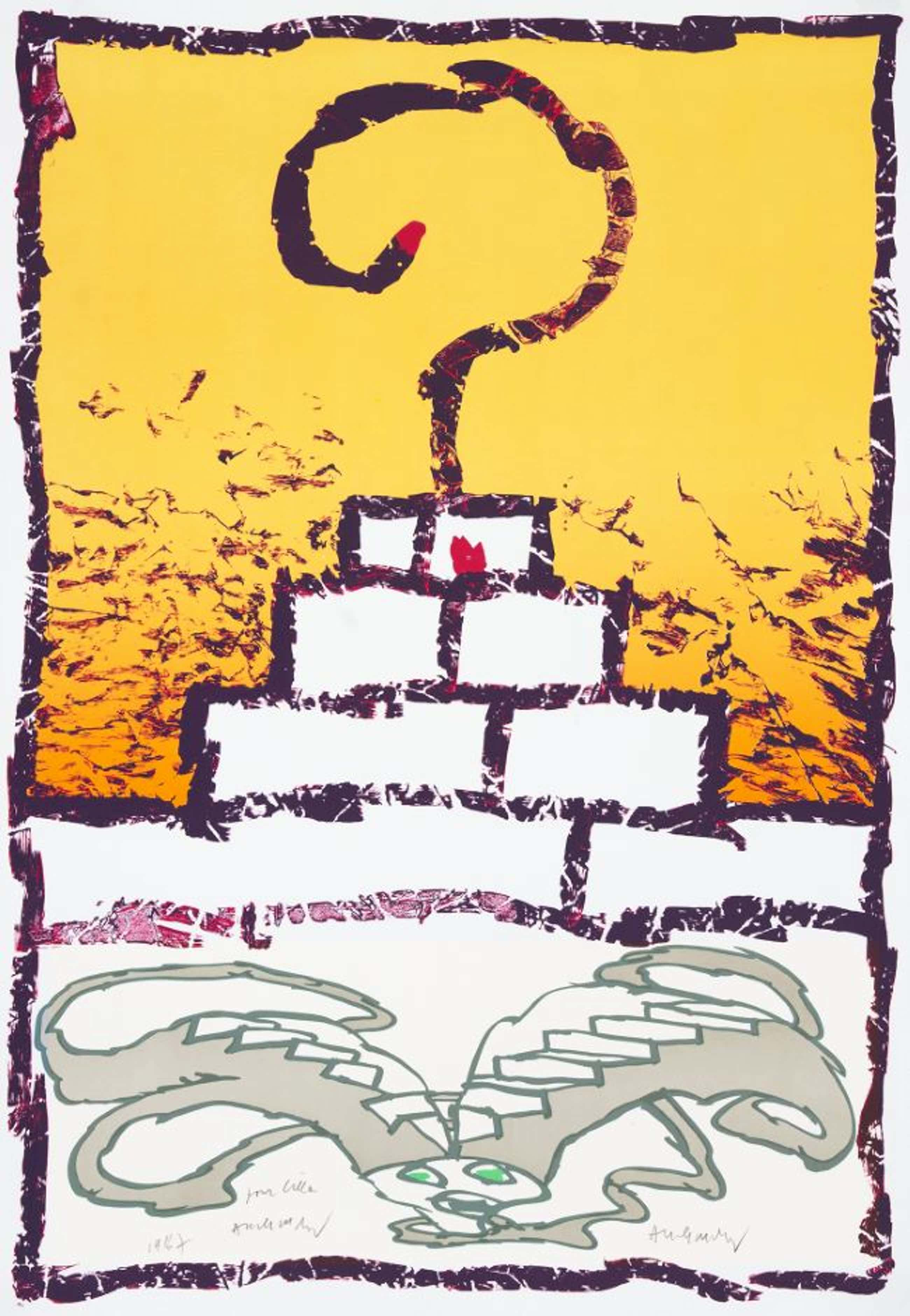 Pierre Alechinsky - Zigurat III- Zeldzame Litho - 1986 kopen? Bied vanaf 850!