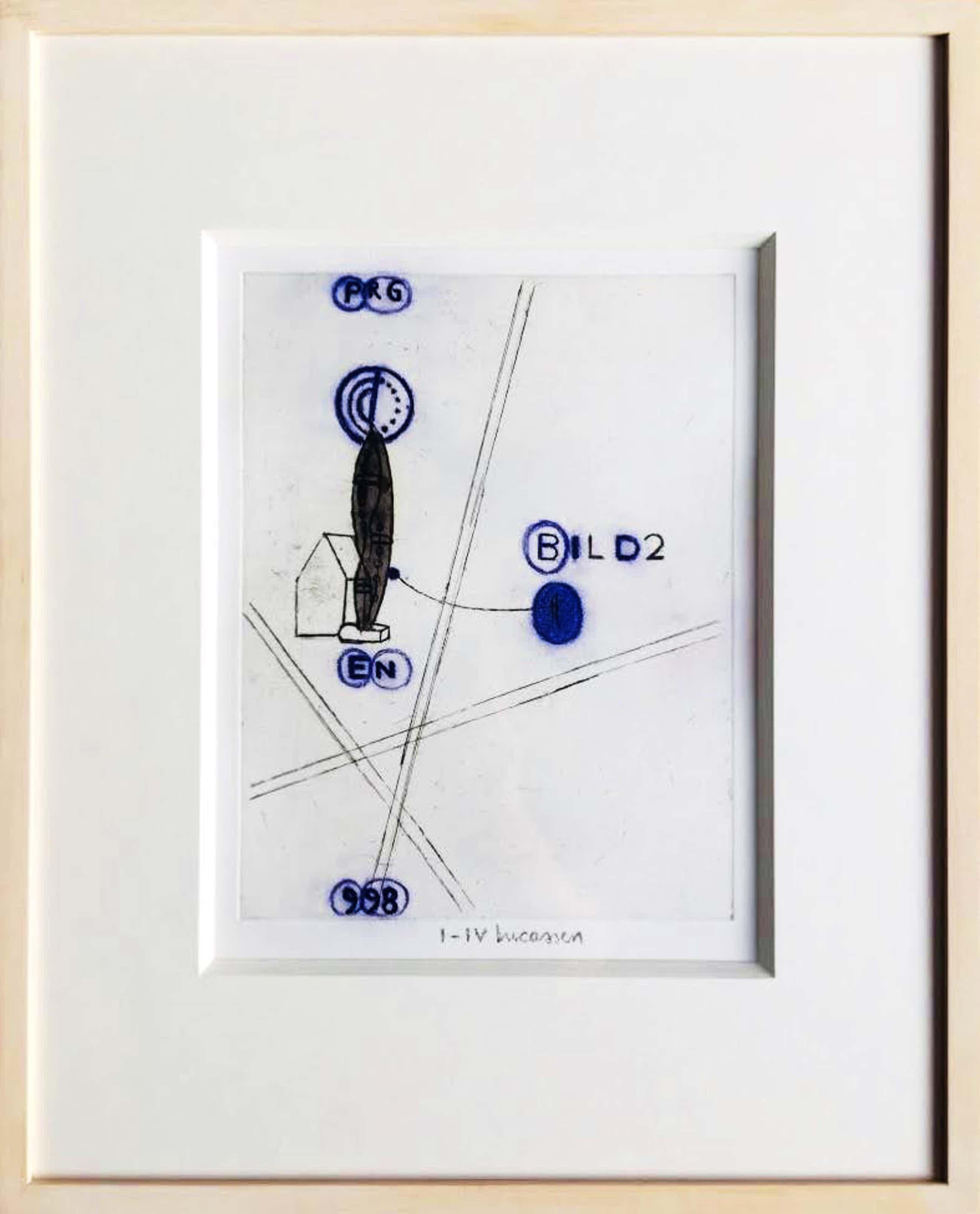 Reinier Lucassen - ets met aquarel 'Bild 2' - oplage I-IV - ingelijst. kopen? Bied vanaf 185!
