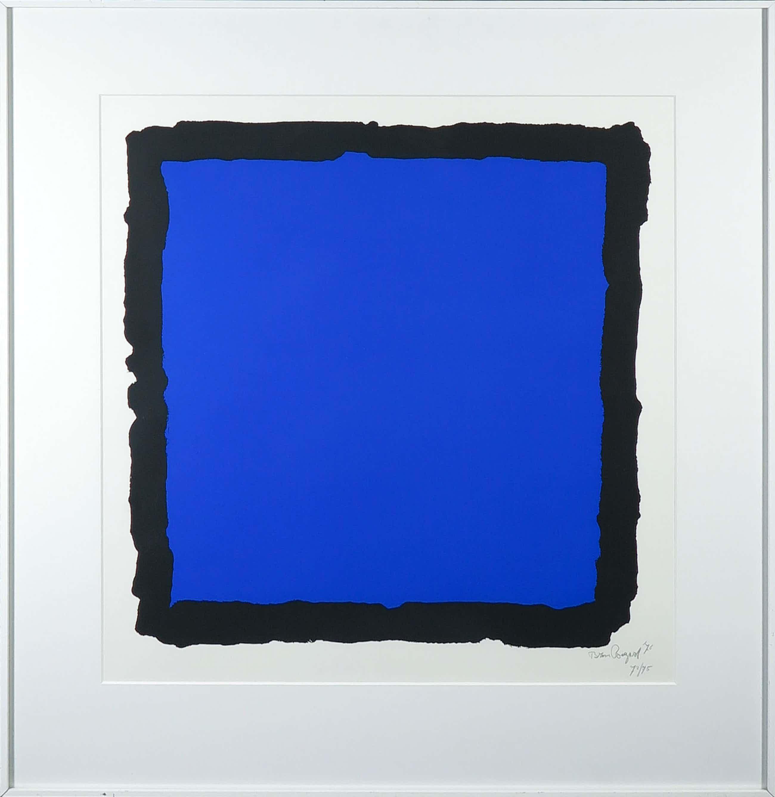 Bram Bogart - Zeefdruk, Z.T. Compositie in blauw en zwart - Ingelijst kopen? Bied vanaf 280!