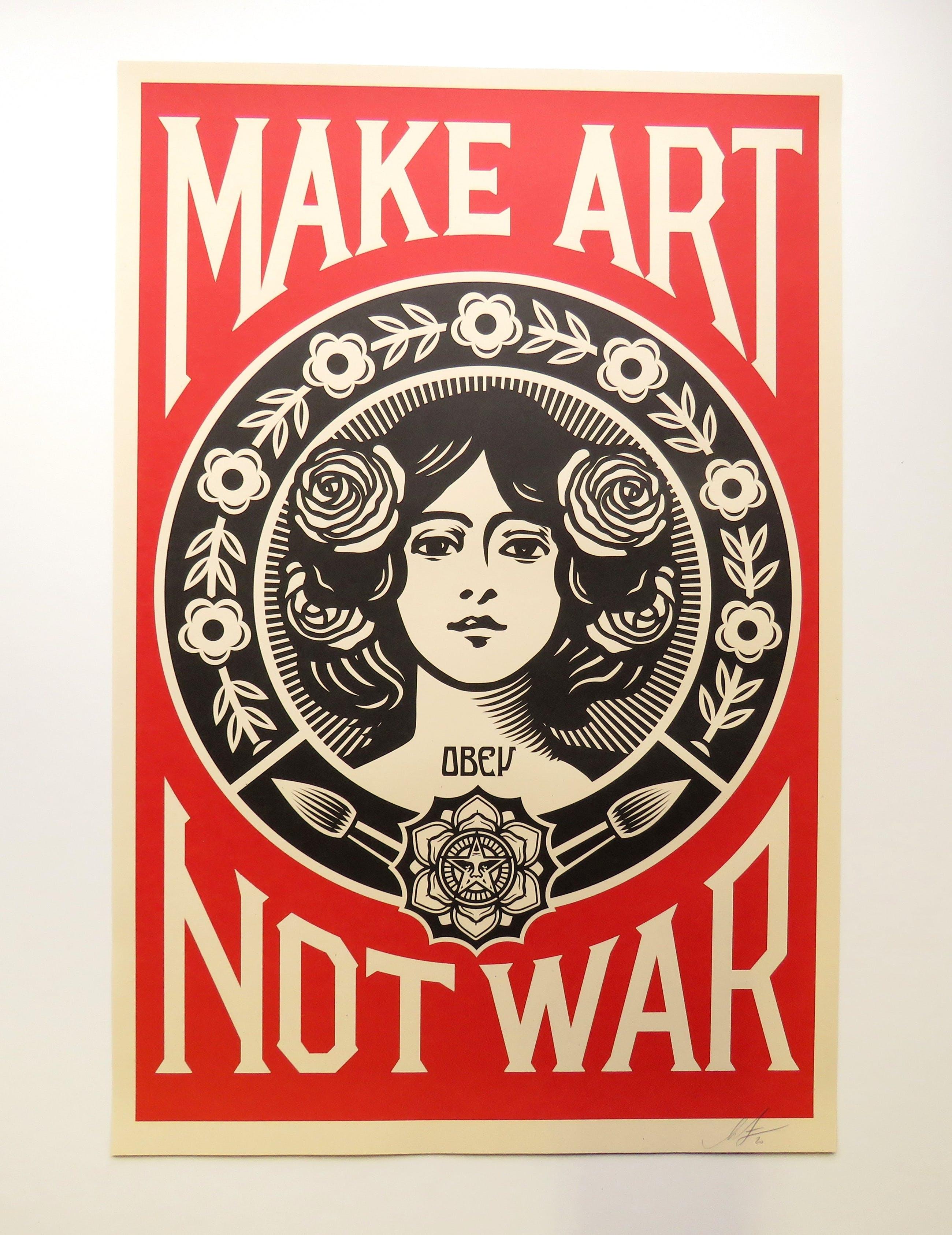 Shepard Fairey - MAKE ART NOT WAR kopen? Bied vanaf 40!