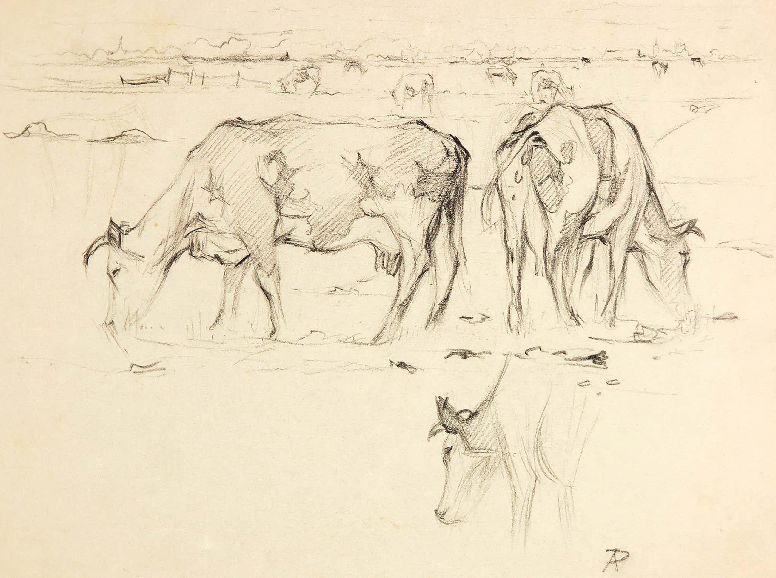 Anton Pieck - Zwart/wit potlood op grijs schetspapier, Koeien in de wei kopen? Bied vanaf 100!