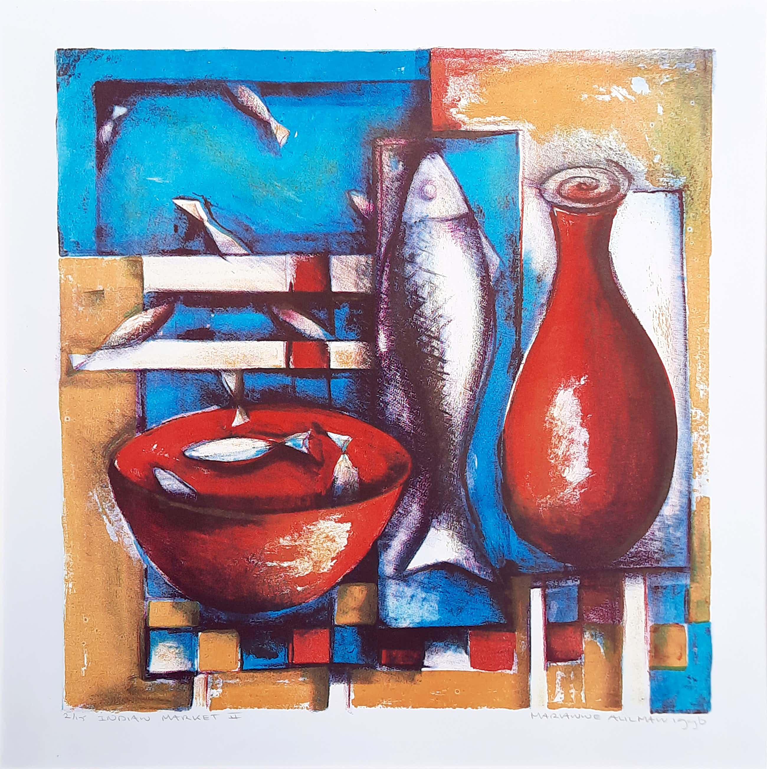 Marianne Aulman - steendruk - Indian Market II 2/15 1996 - 21050 kopen? Bied vanaf 35!
