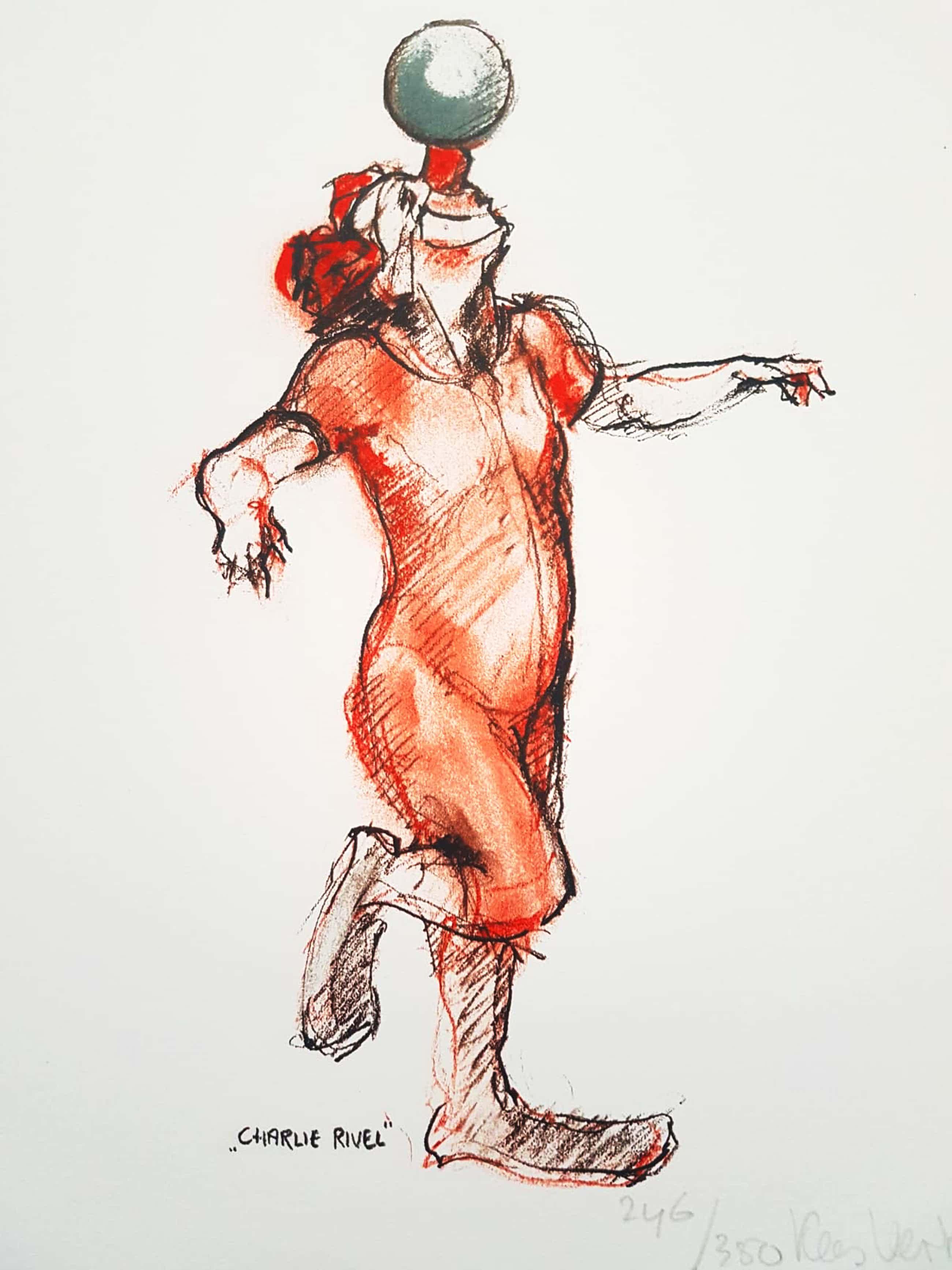 Kees Verkade - kleurenlitho in rood,wit en zwart handgesigneerd en genummerd 246 oplage 350 kopen? Bied vanaf 80!