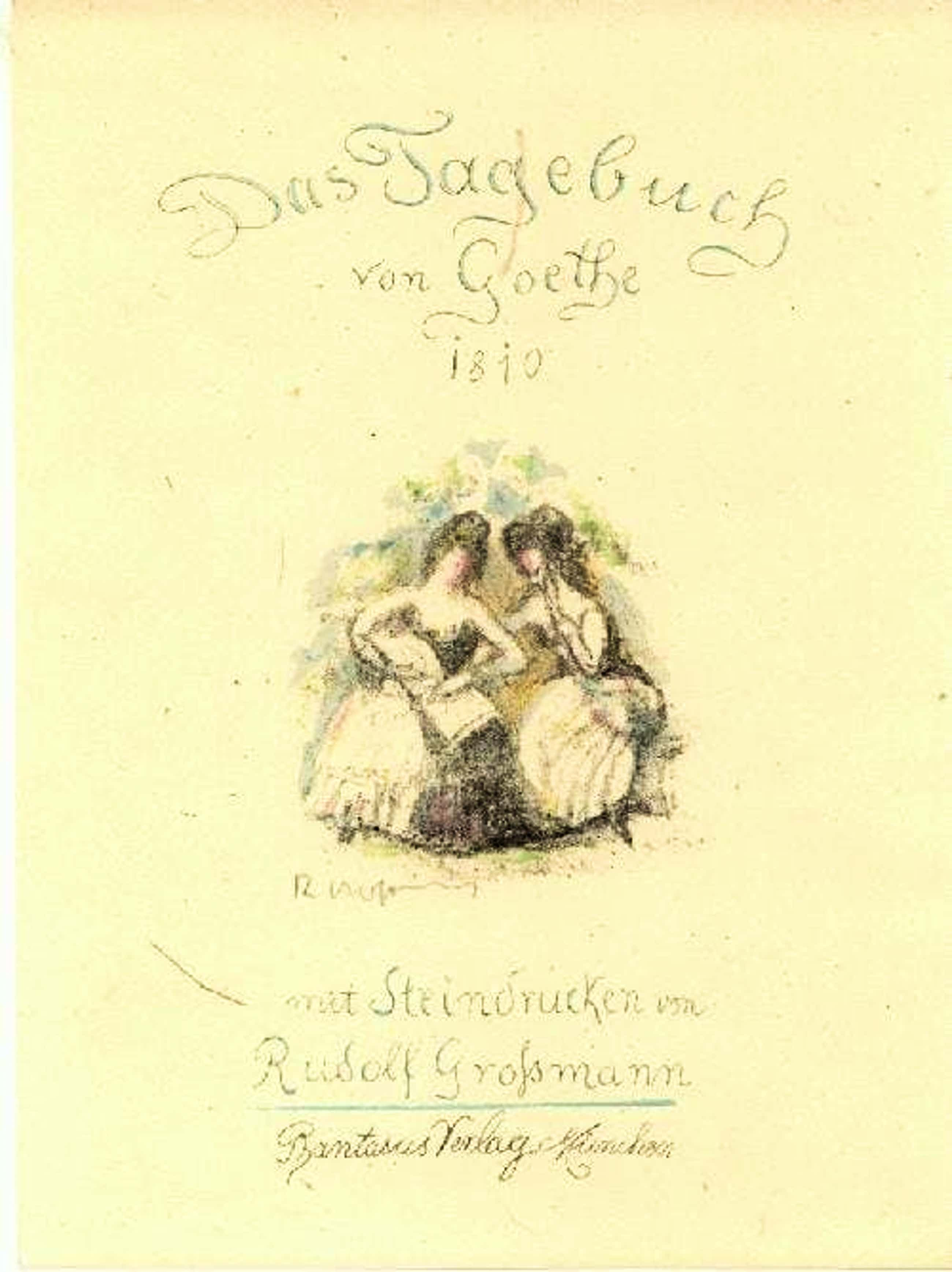 Rudolf Grossmann - Rudolf Großmann Tagebuch Goethe Mappe sign.24 Orig.-Lithos 1 sign. Zeichnung! kopen? Bied vanaf 1100!