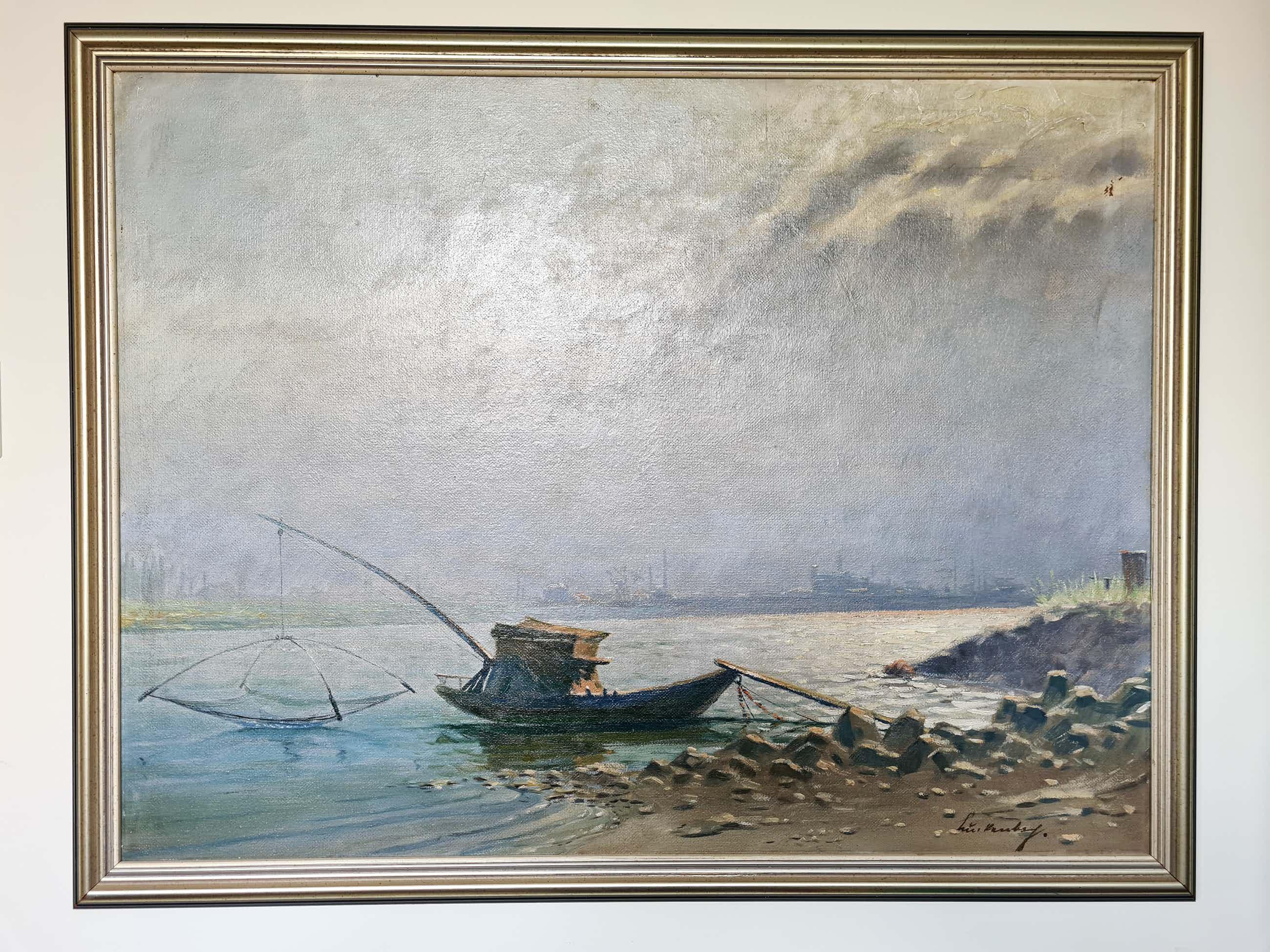 Niet of onleesbaar gesigneerd - Vissersboot aan de rand van de rivier kopen? Bied vanaf 3!