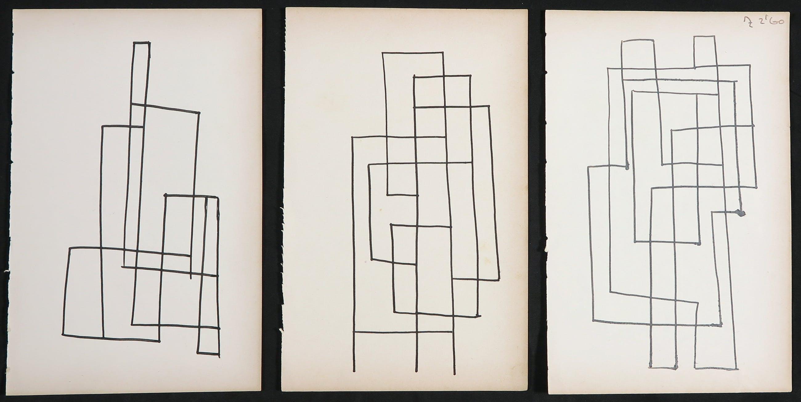 Siep van den Berg - Lot van drie abstracte composities kopen? Bied vanaf 1!