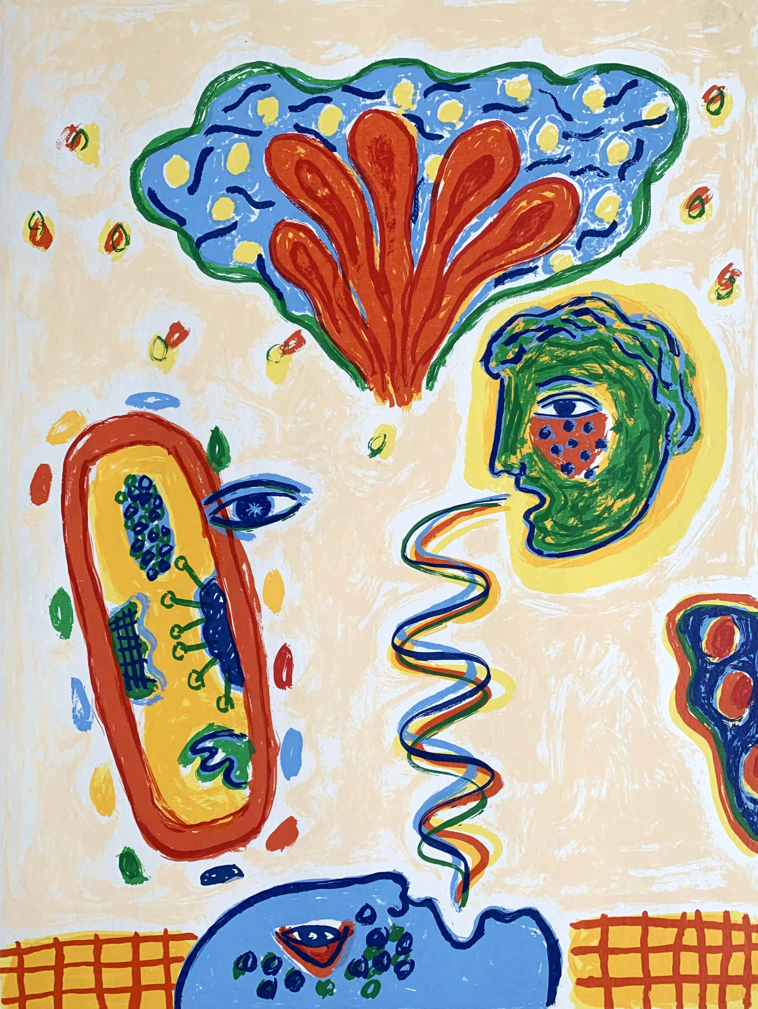 Keimpe Kootstra - Kleurenzeefdruk   'Het gesprek van de dag I' - 1999 kopen? Bied vanaf 25!