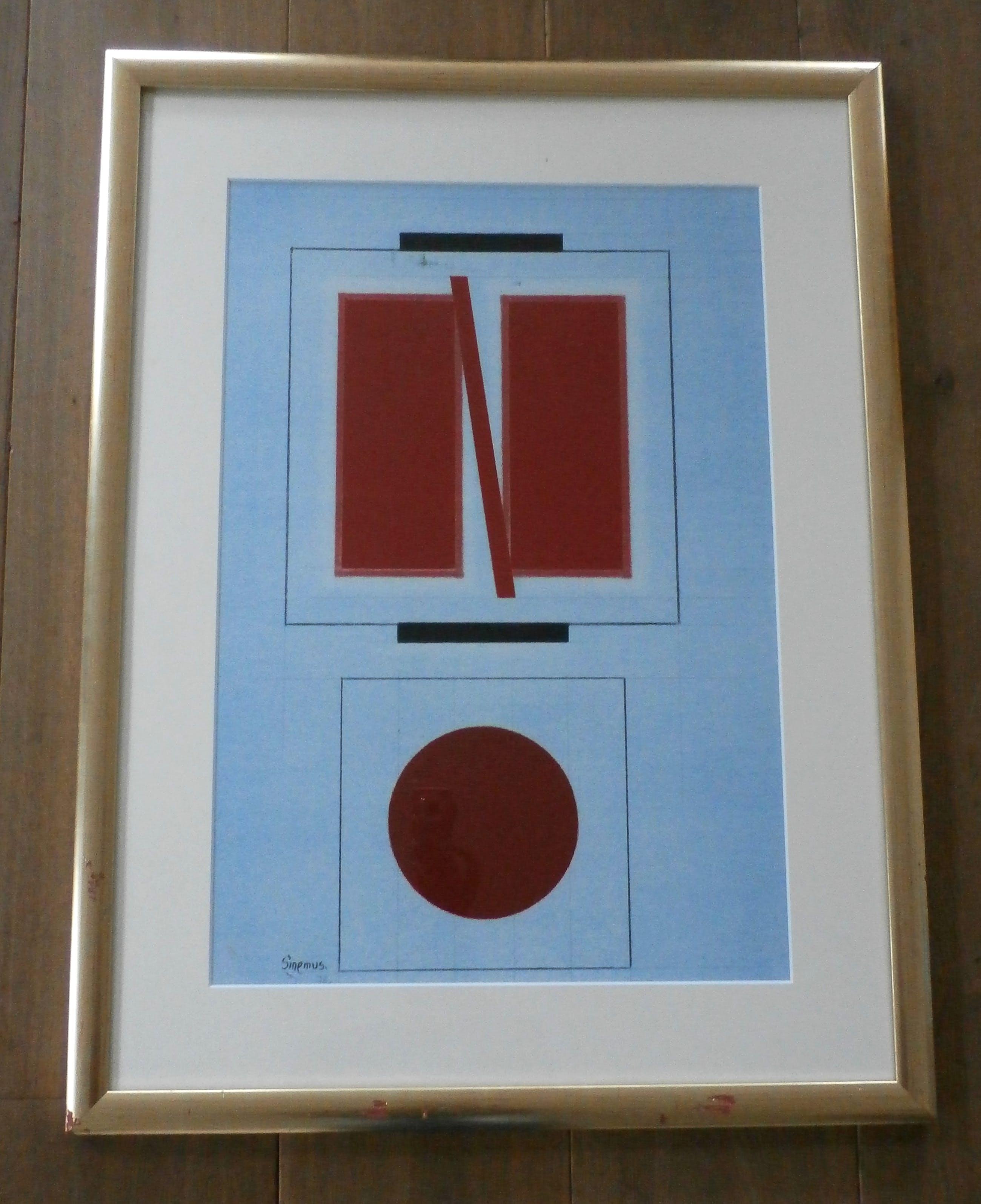 Wim Sinemus - ingelijste litho: geometrische compositie - 1976 kopen? Bied vanaf 275!