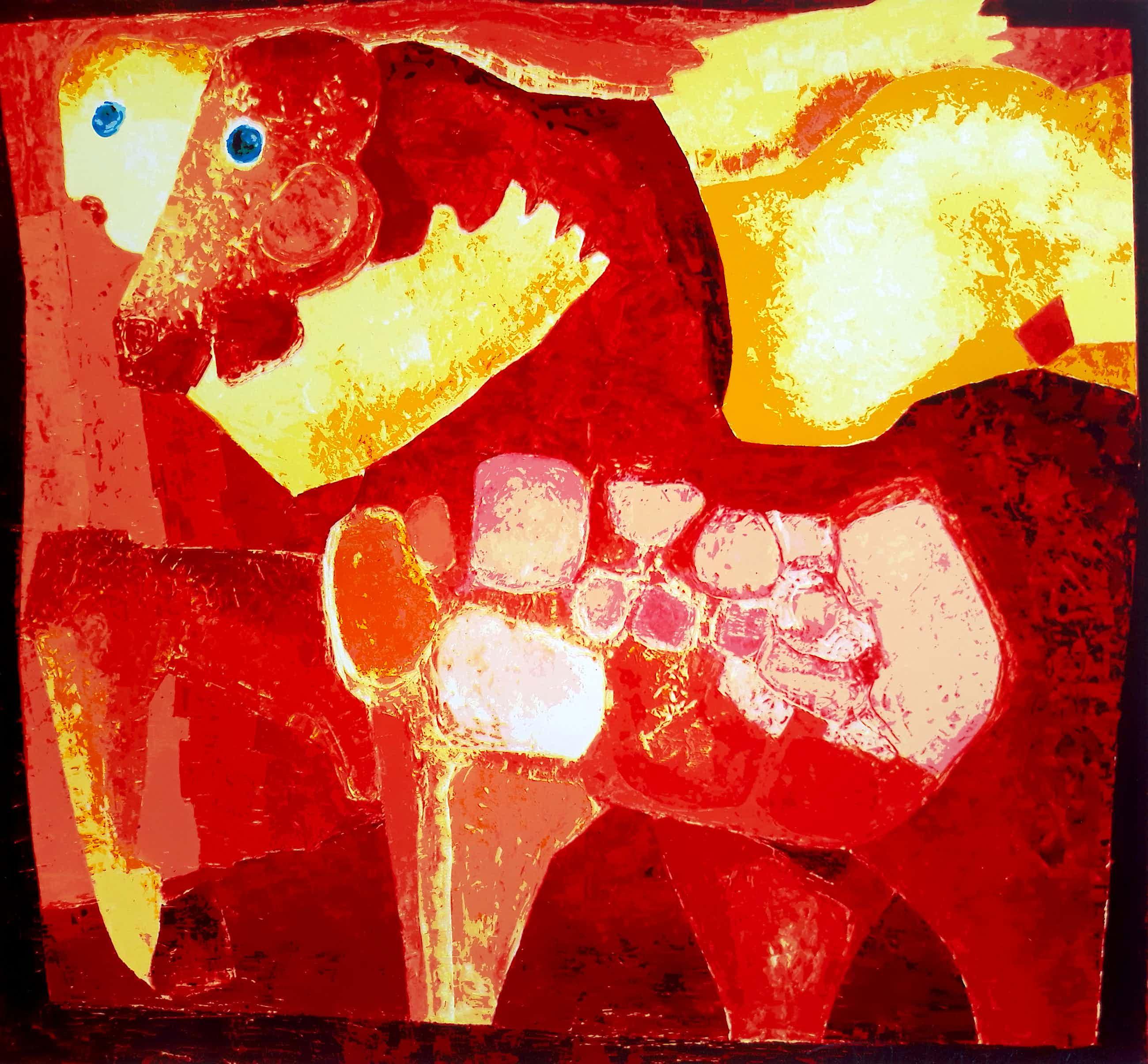 Theo Mackaay - Figuur met paard, zeefdruk (groot) kopen? Bied vanaf 65!