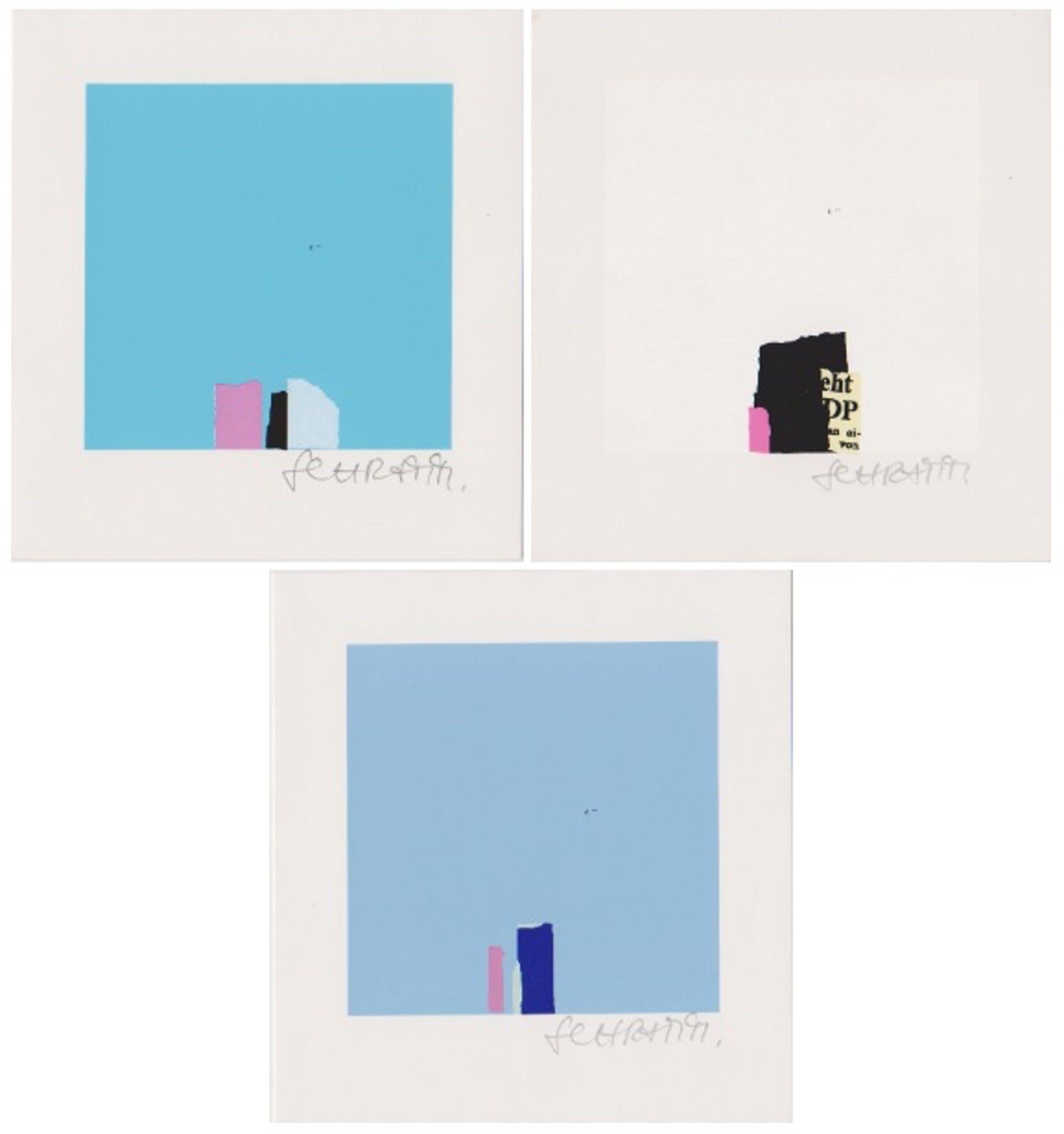 Bodo Schramm - Drie handgesigneerde zeefdrukken: Abstracte Composities I, II, III kopen? Bied vanaf 35!