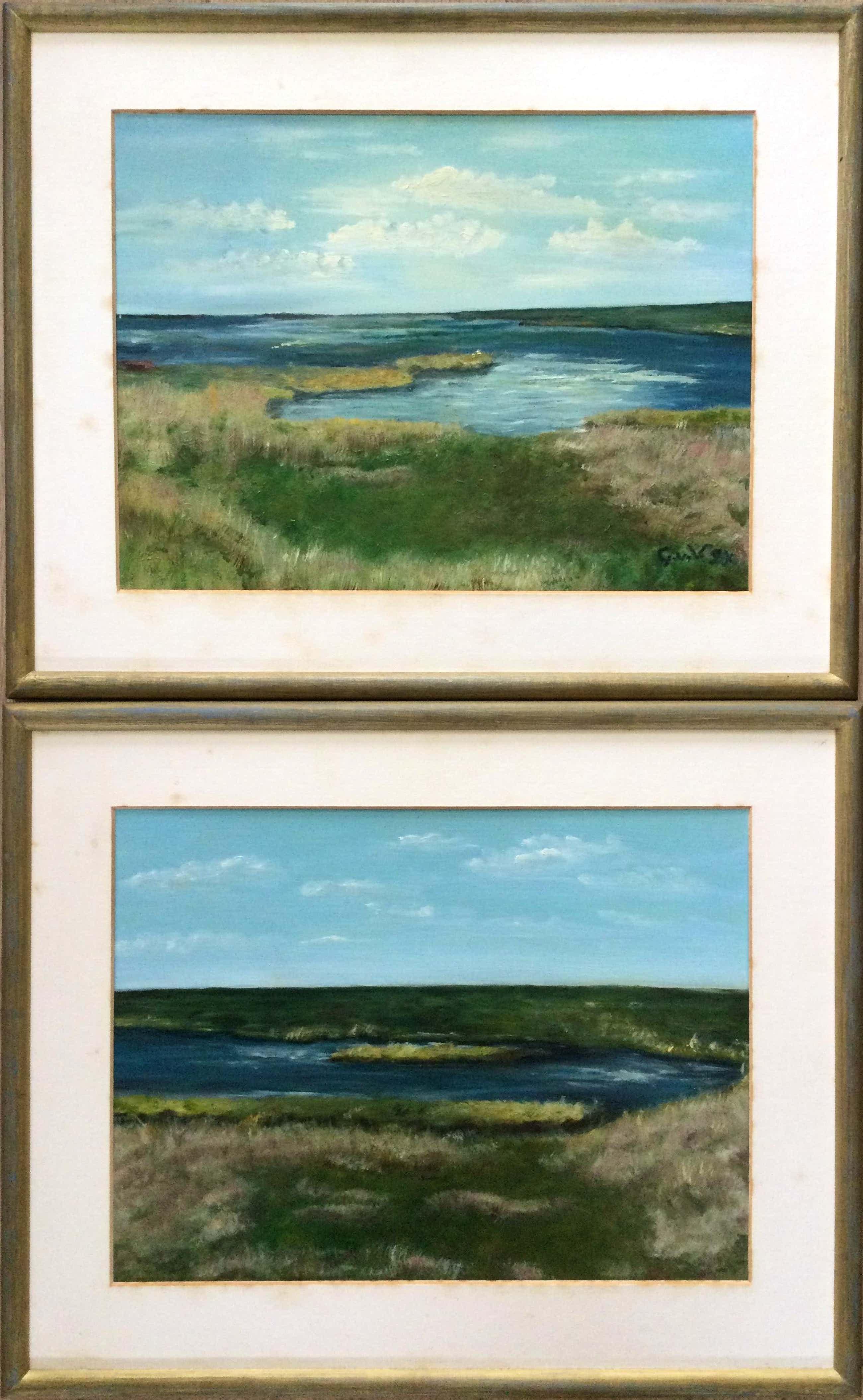 Niet of onleesbaar gesigneerd - 2x landschap Terschelling | 2x olieverf schilderijen (ingelijst) kopen? Bied vanaf 1!