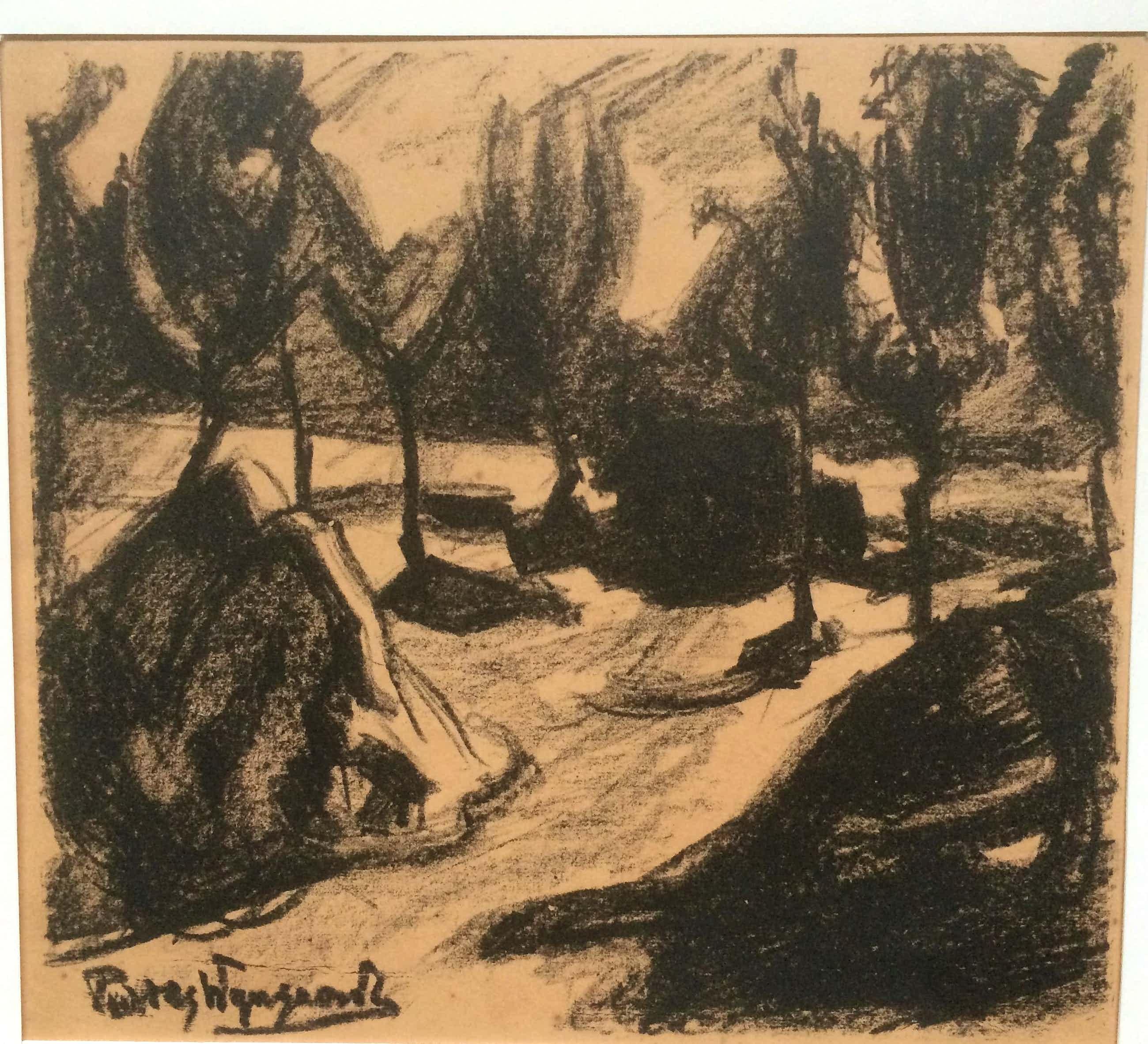 Piet van Wijngaerdt - Litho: Bomen en schelven 1920 kopen? Bied vanaf 50!