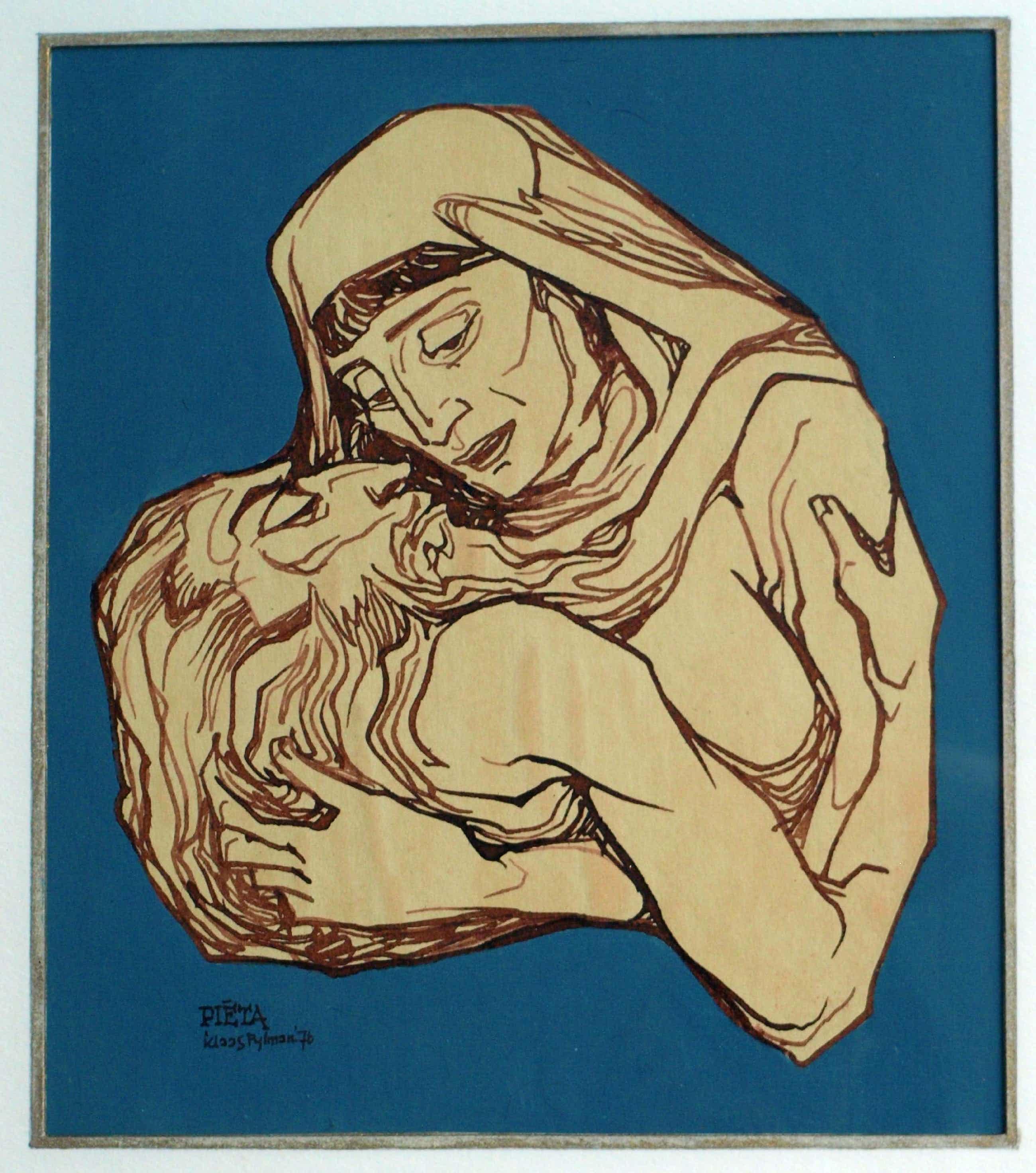 """Klaas Pijlman - Pentekening , """"Piëta"""" – ingelijst - 1976 kopen? Bied vanaf 35!"""