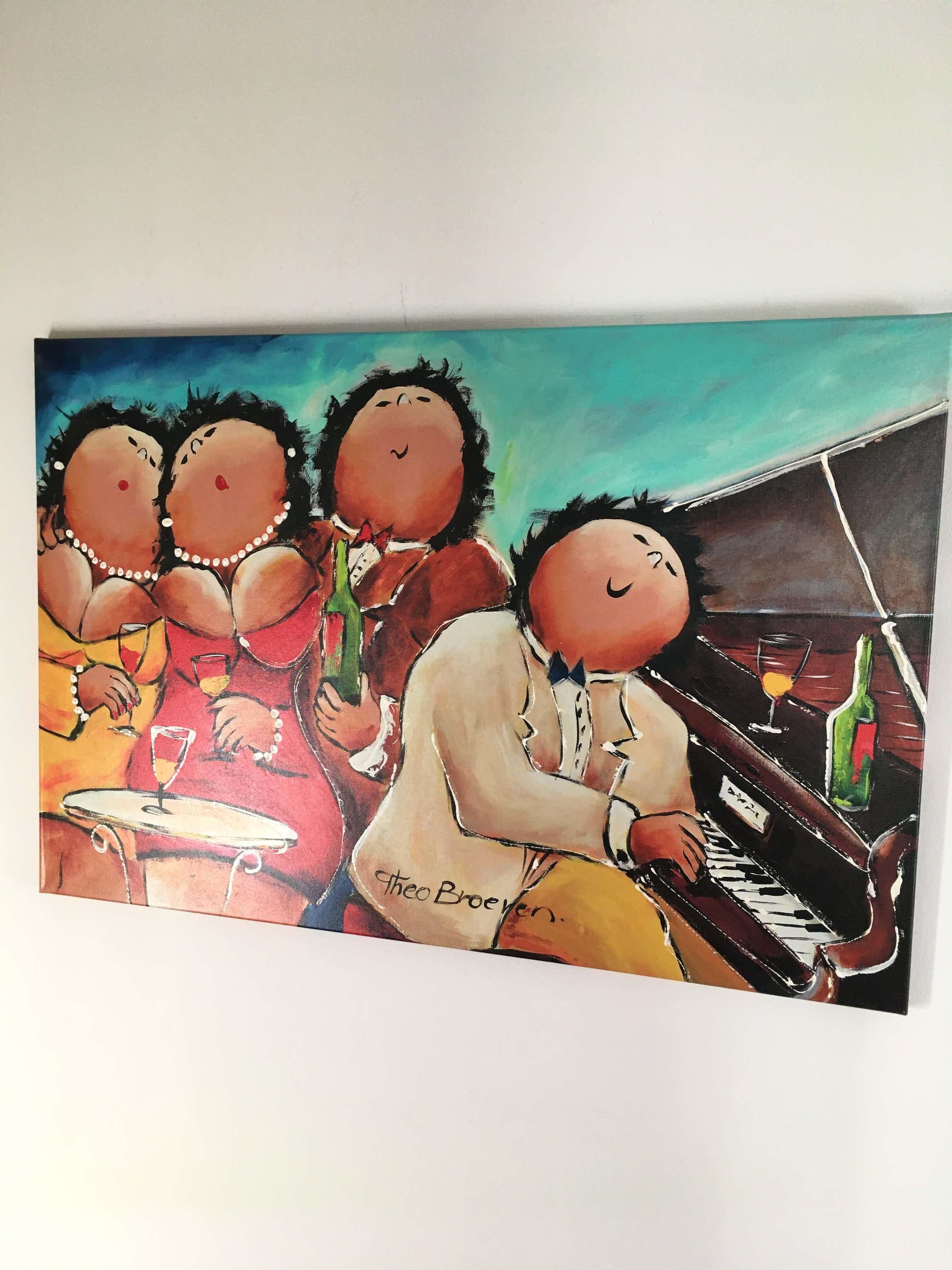 Theo Broeren - Glicée met acryl op doek ' Piano spelen ' ( GROOT ) kopen? Bied vanaf 110!