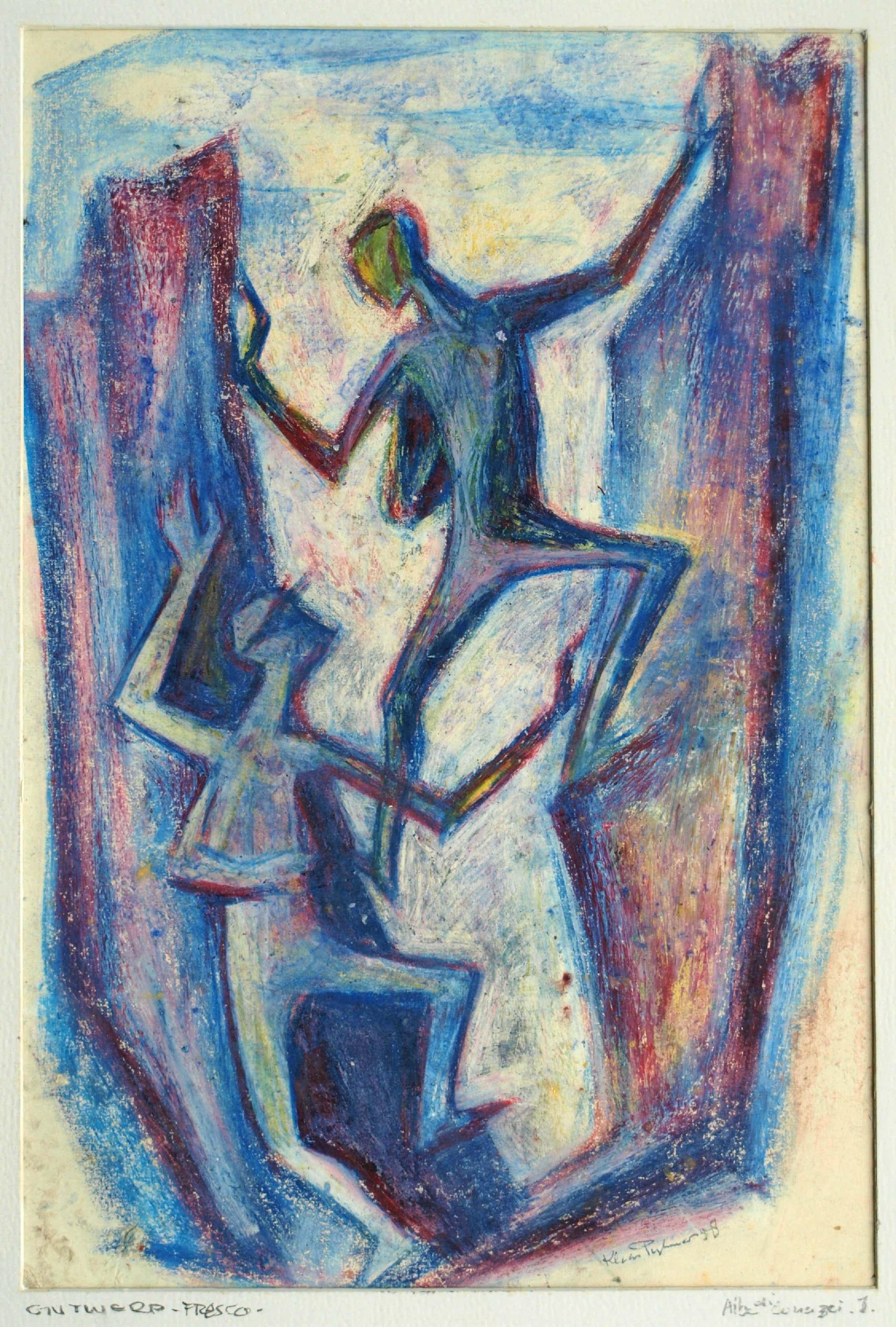 """Klaas Pijlman - Ingelijste pastel , """"Alba di Canazei"""" – Ontwerp fresco - 1958 kopen? Bied vanaf 35!"""
