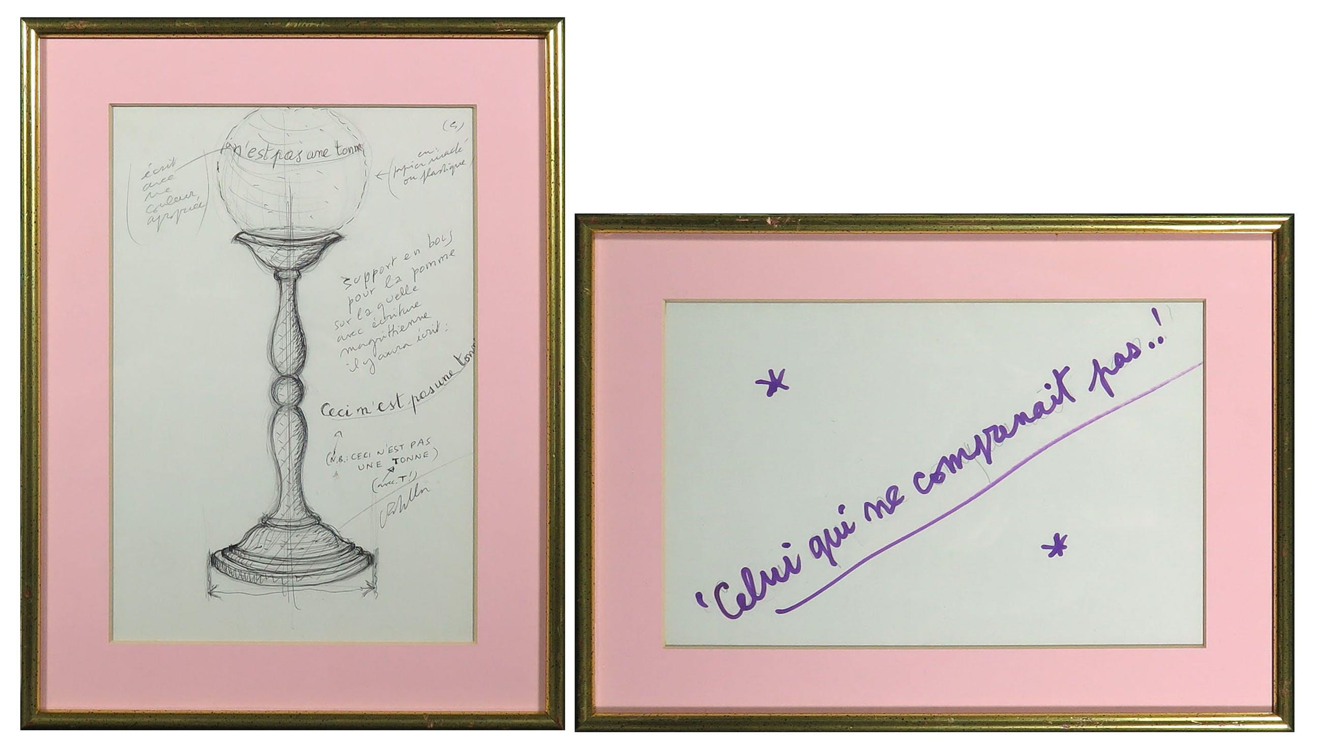 Luca Maria Patella - Lot van twee tekeningen, Ceci n'est pas... / Celui qui ne... - Ingelijst kopen? Bied vanaf 1!