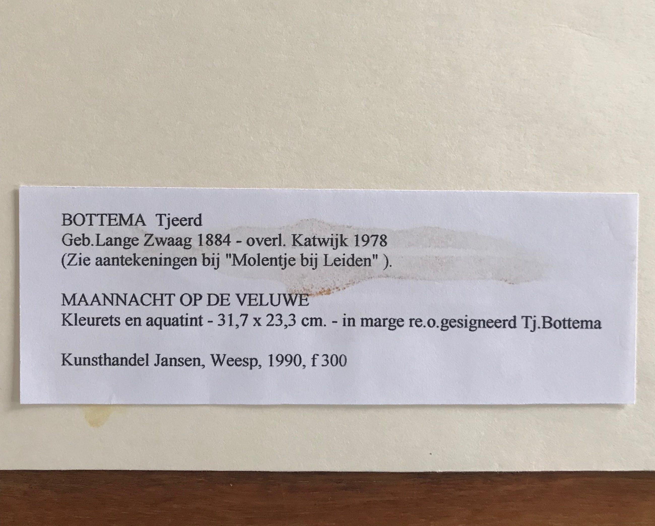 Tjeerd Bottema - Ets/aquatint - Maannacht op de Veluwe - Gesigneerd kopen? Bied vanaf 115!