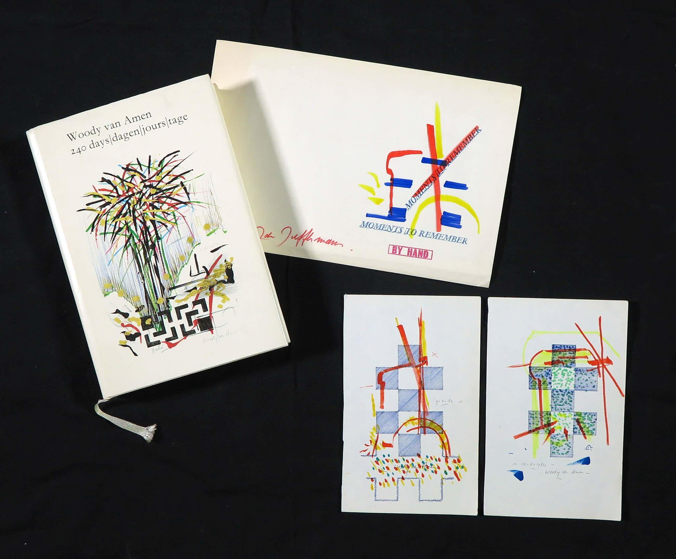Woody van Amen - Pen en stift, Twee tekeningen en het boek '204 days/dagen/jours/tage kopen? Bied vanaf 250!