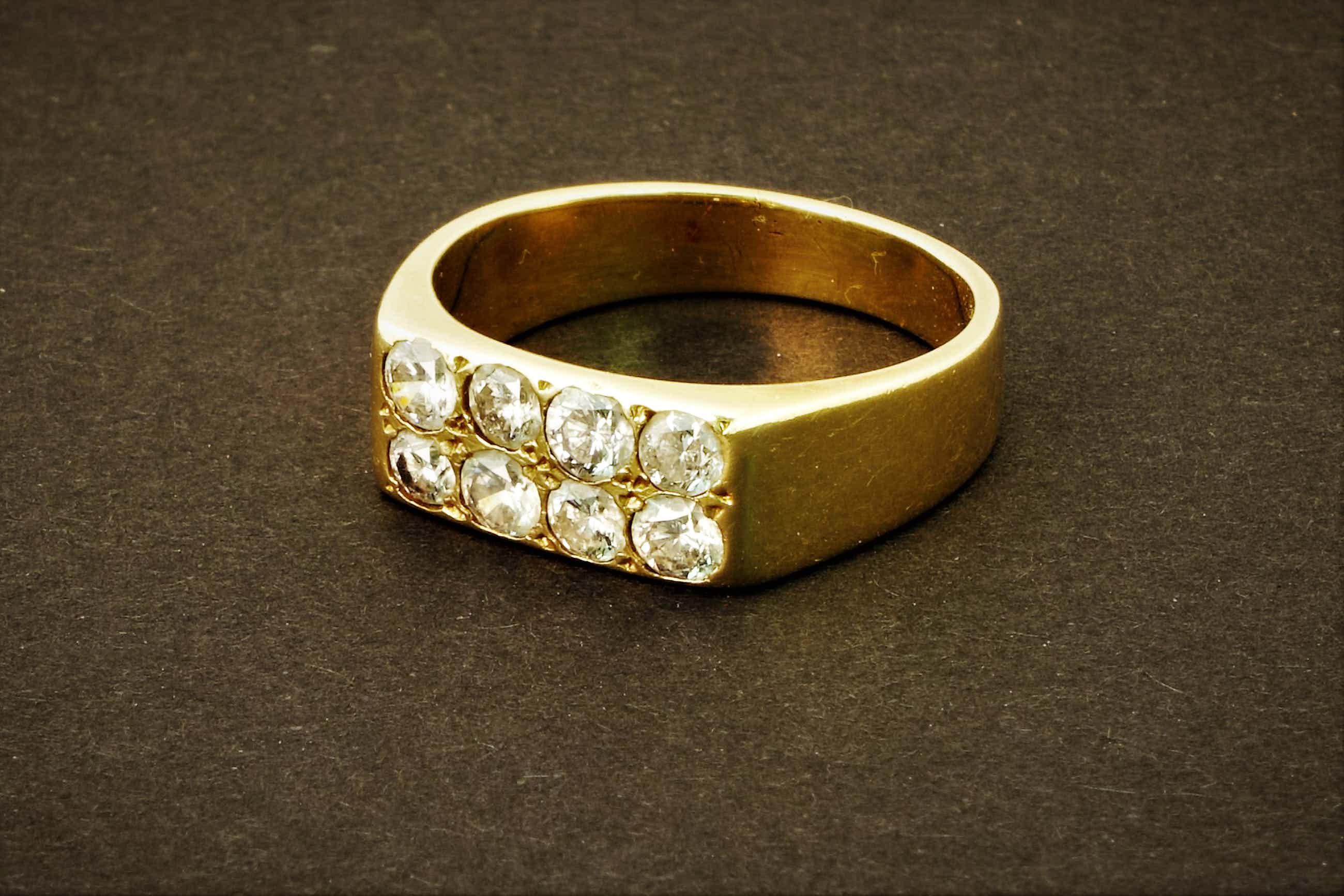 Diamanten geelgouden pavé herenring - 8 stenen tot. ca. 1.40ct - 14k geelgoud kopen? Bied vanaf 460!