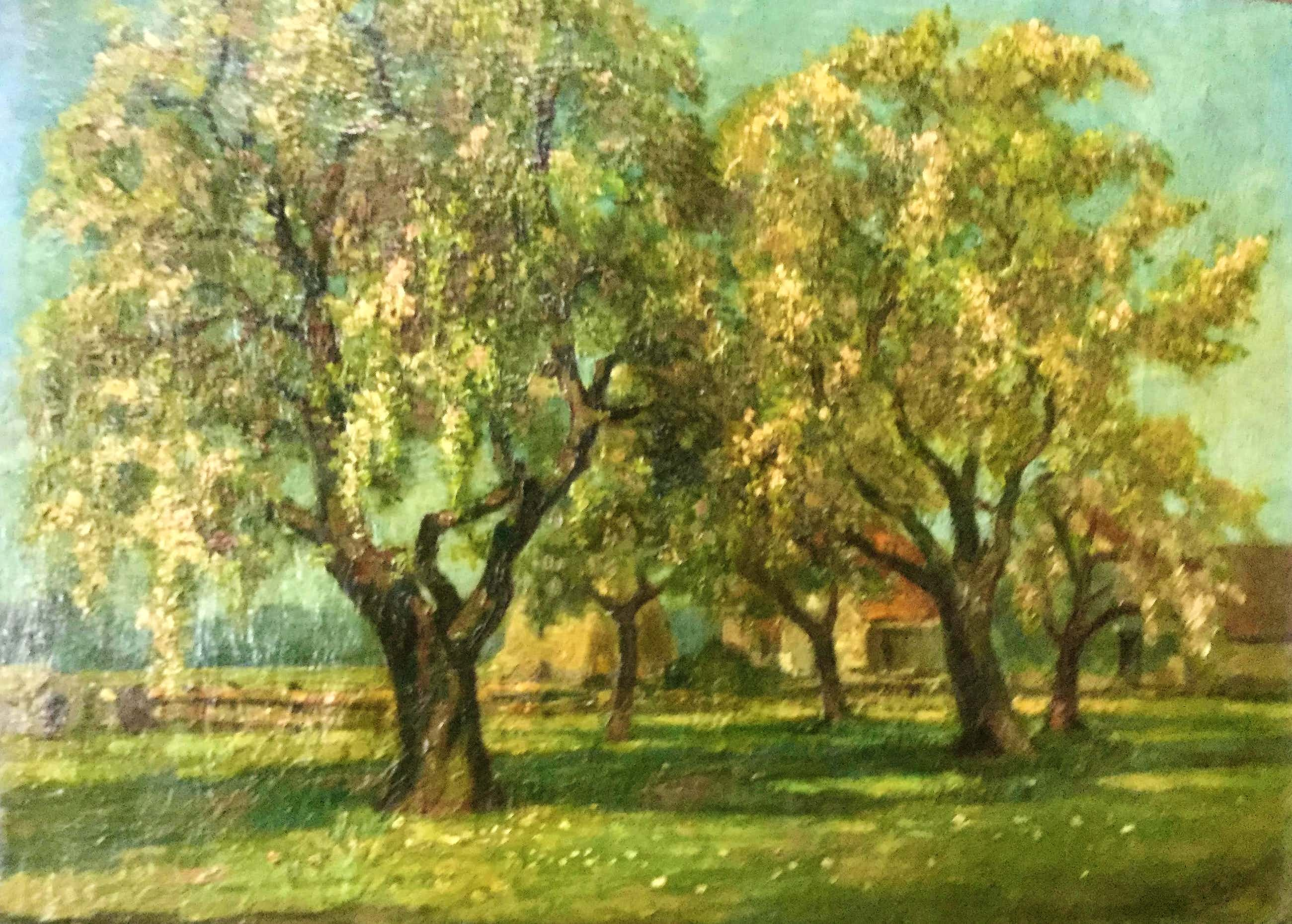Willem Klijn - landschap met fruitbomen kopen? Bied vanaf 40!