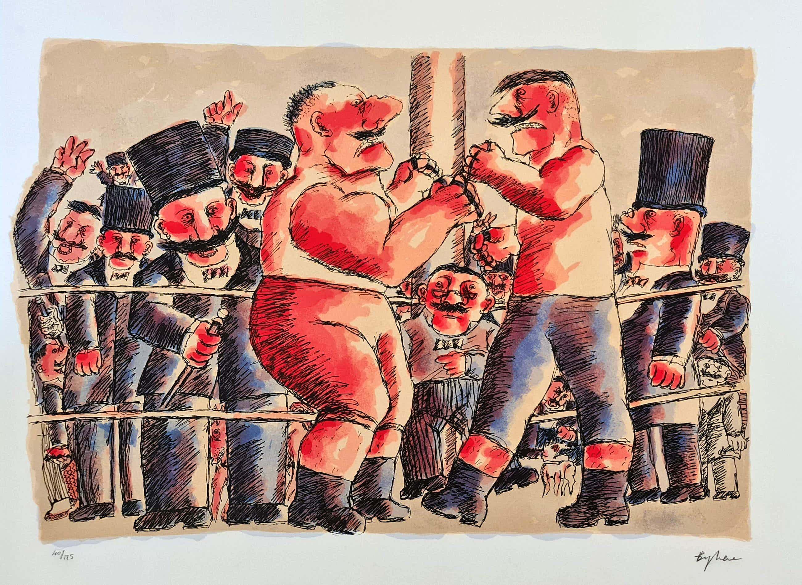 "Franz Borghese - Groot Handgesigneerde zeefdruk "" I Lottatori "" kopen? Bied vanaf 199!"
