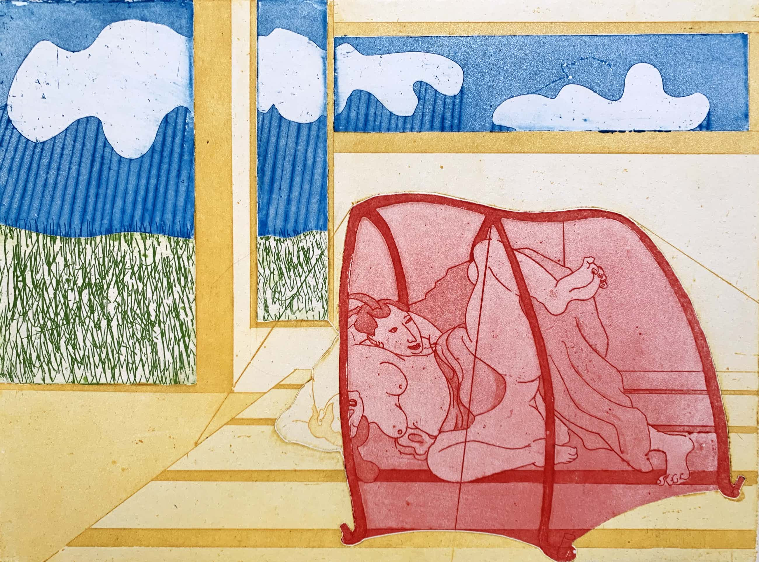 Sjoerd Bakker - kleurenets - 'Japanse minnaars in lust' - 1969 (Zeer kleine oplage) kopen? Bied vanaf 65!