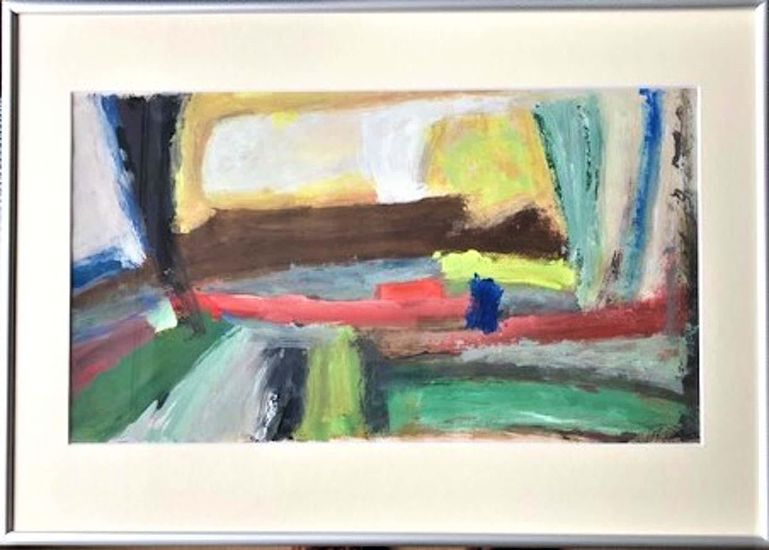 Phil Grisel - Abstract Landschap - Olieverf op papier kopen? Bied vanaf 39!