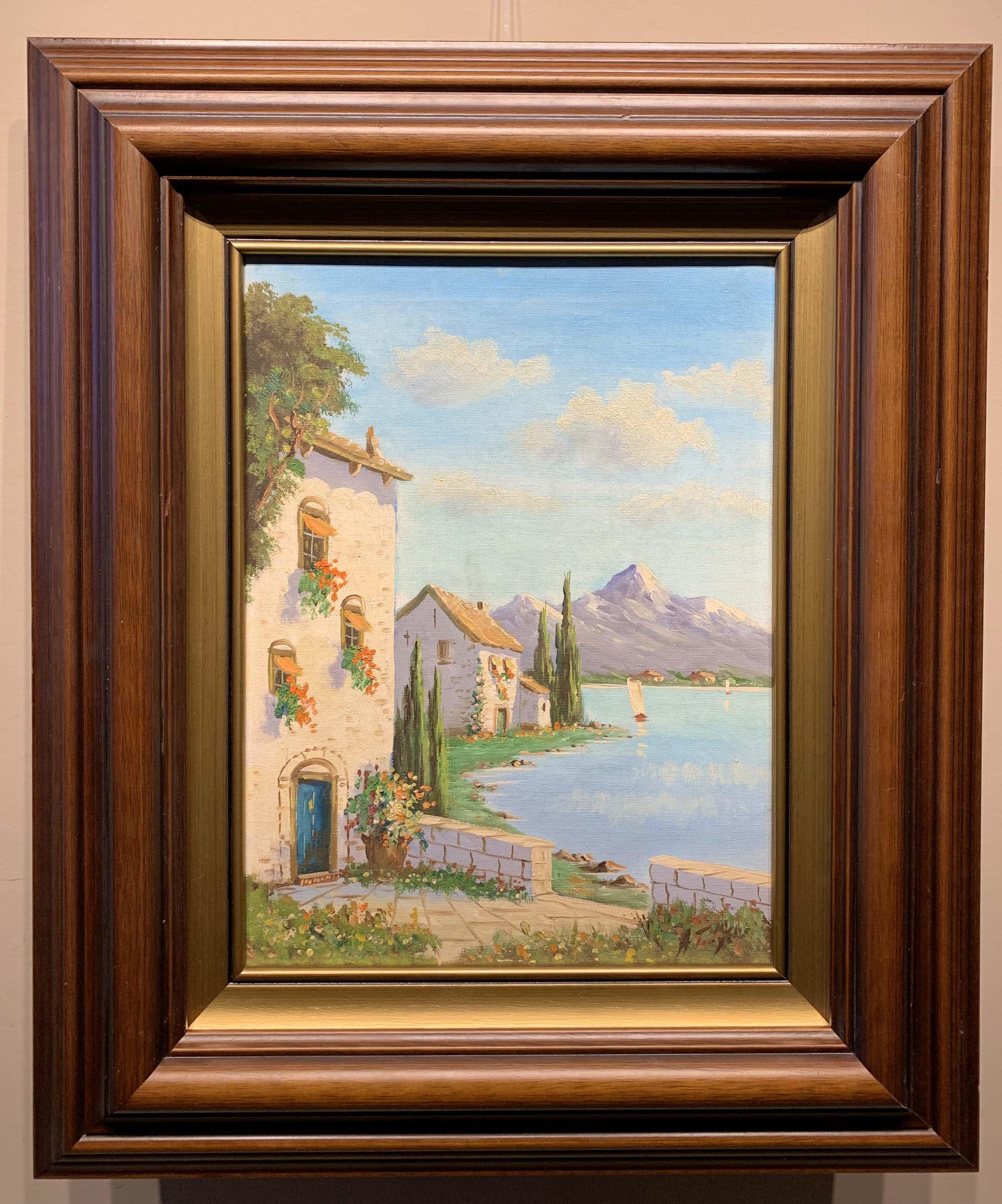 Albert Torringa - Zuid Europees landschap met bergen en meer. kopen? Bied vanaf 40!